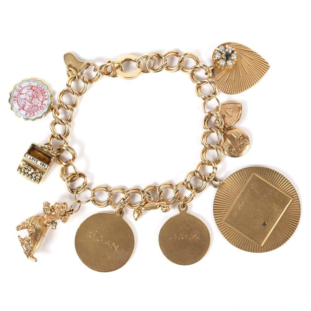 14K Yellow Gold Double Link Charm Bracelet with Eleven 14K and 10K Gold Charms