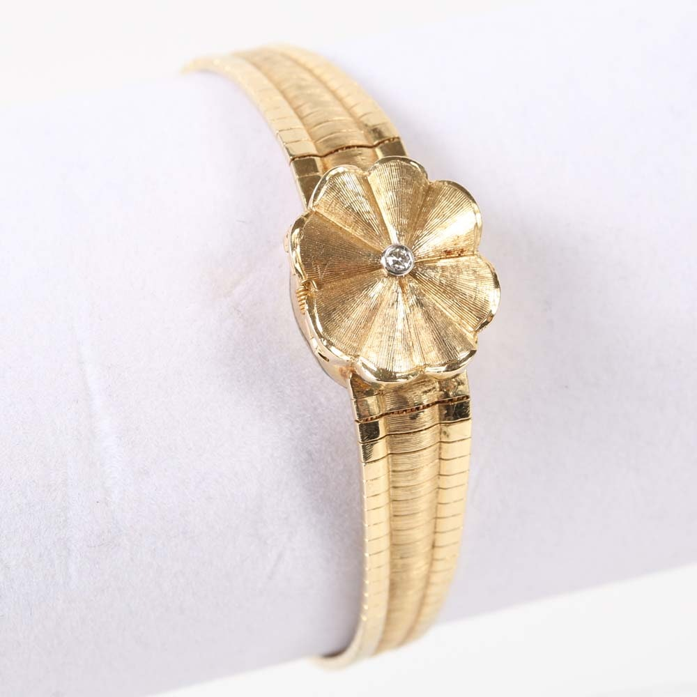 Kelbert 14K Yellow Gold and Diamond Flower Wristwatch