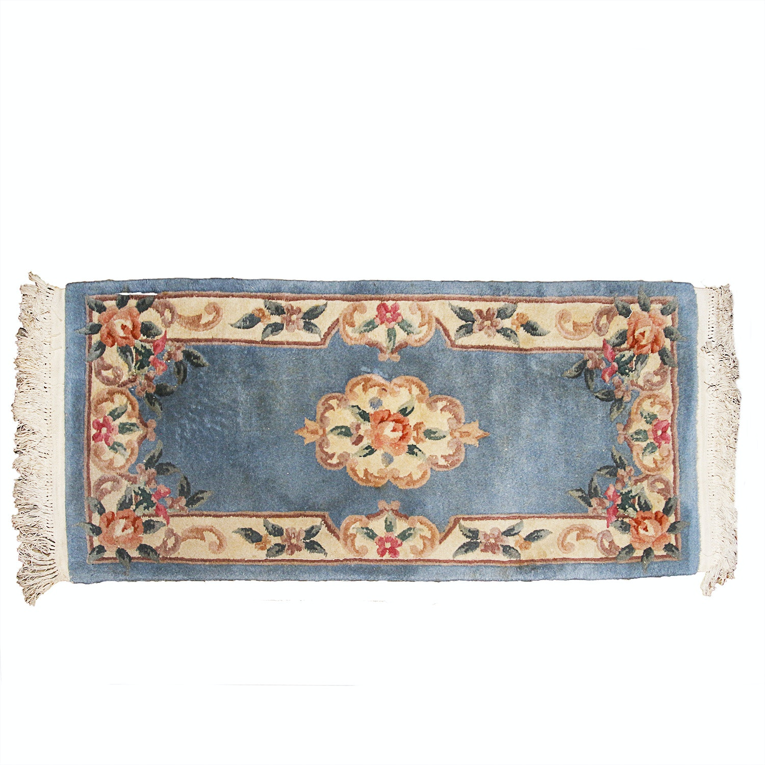 Hand-Knotted Chinese Carved Savonnerie-Style Area Rug