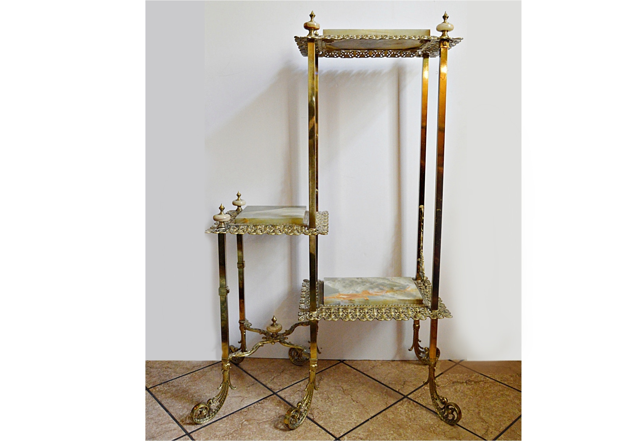 Antique Louis XV Style Brass and Onyx Stand