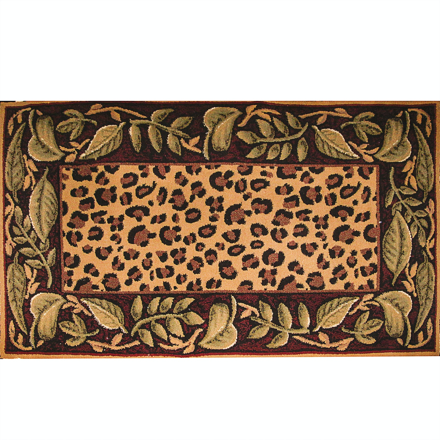 Power Loomed Jungle-Themed Accent Rug