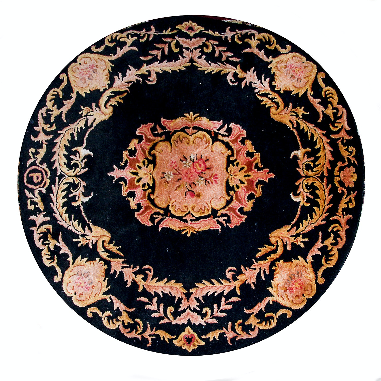 Tufted Indian Classical Round Rug by Persepolis
