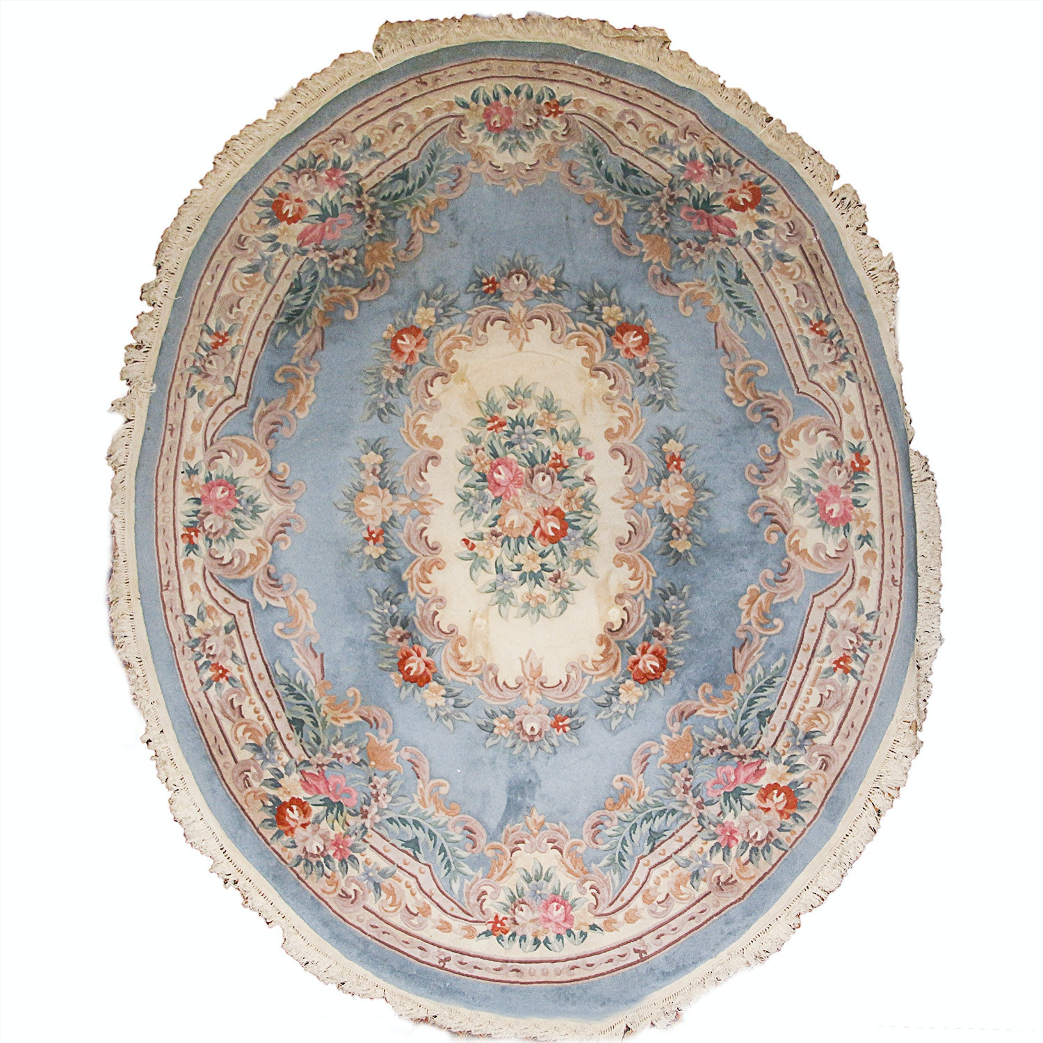 Hand-Knotted Chinese Savonnerie-Style Oval Rug