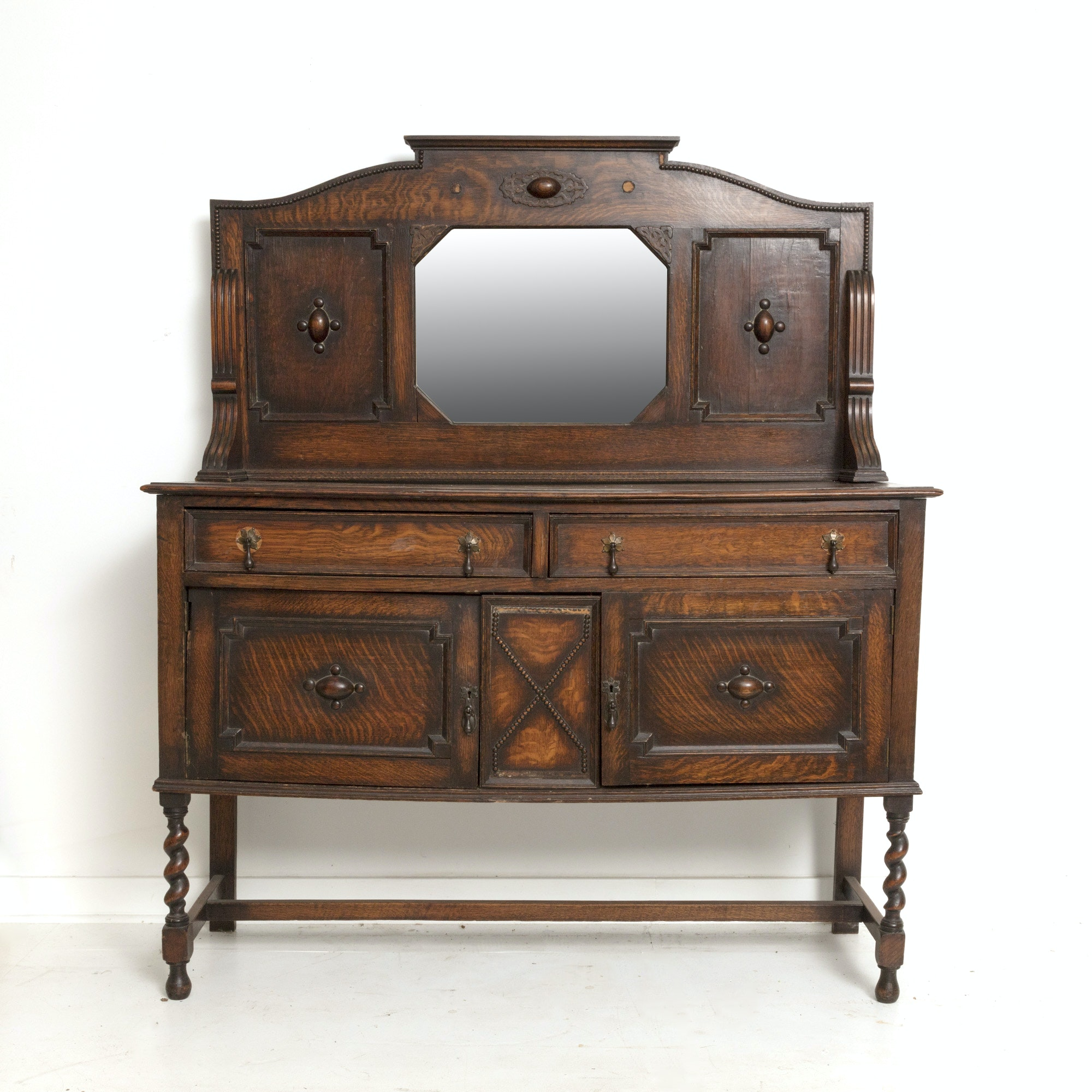 Antique William and Mary Style Oak Sideboard With Gallery Splash, Circa 1890s