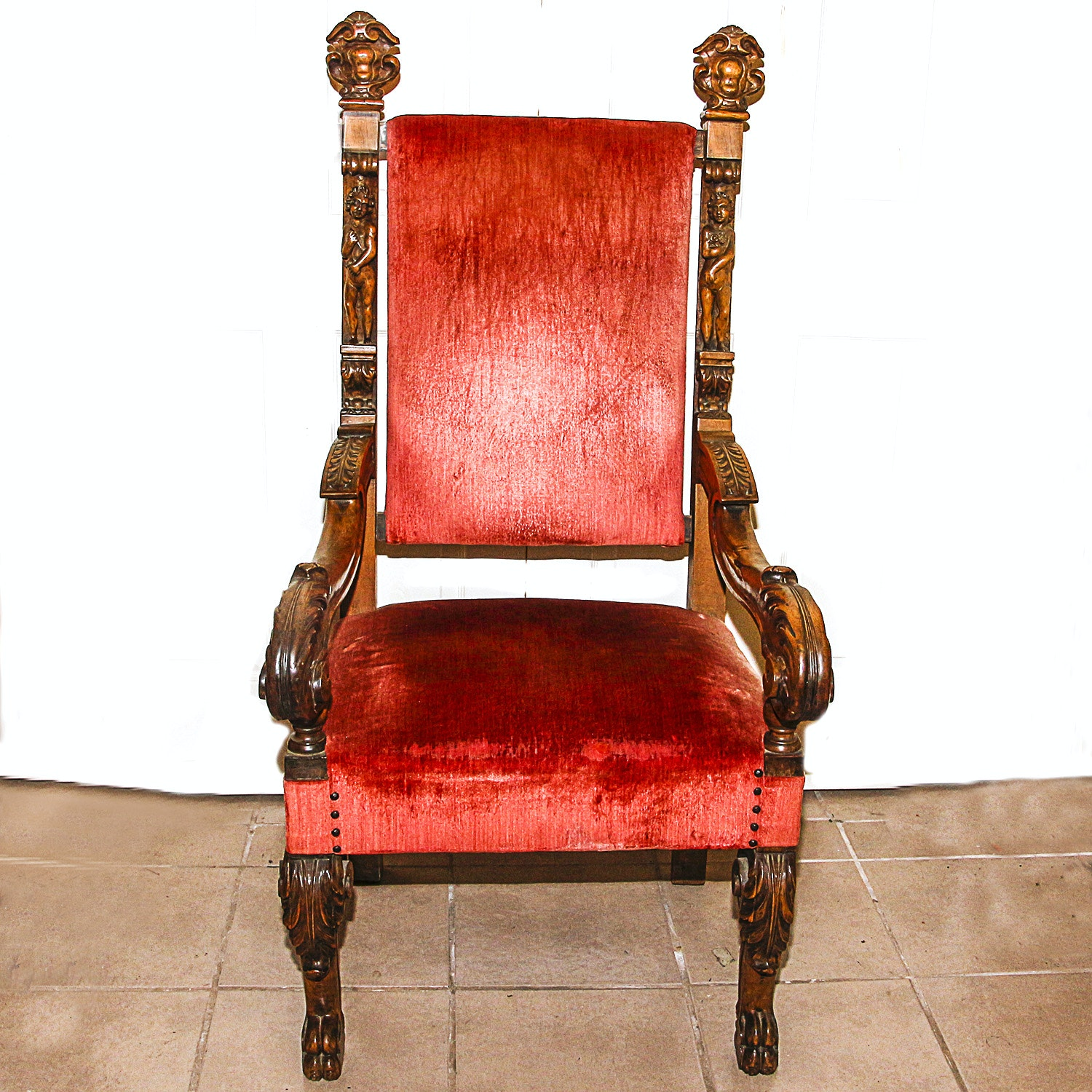 Antique Revival Style Hand Carved  Walnut Chair