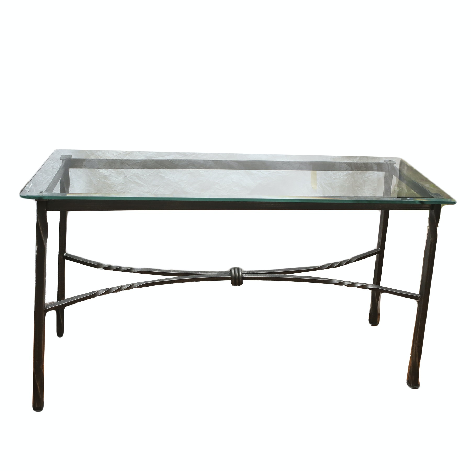 Wrought Iron Glass Console Table