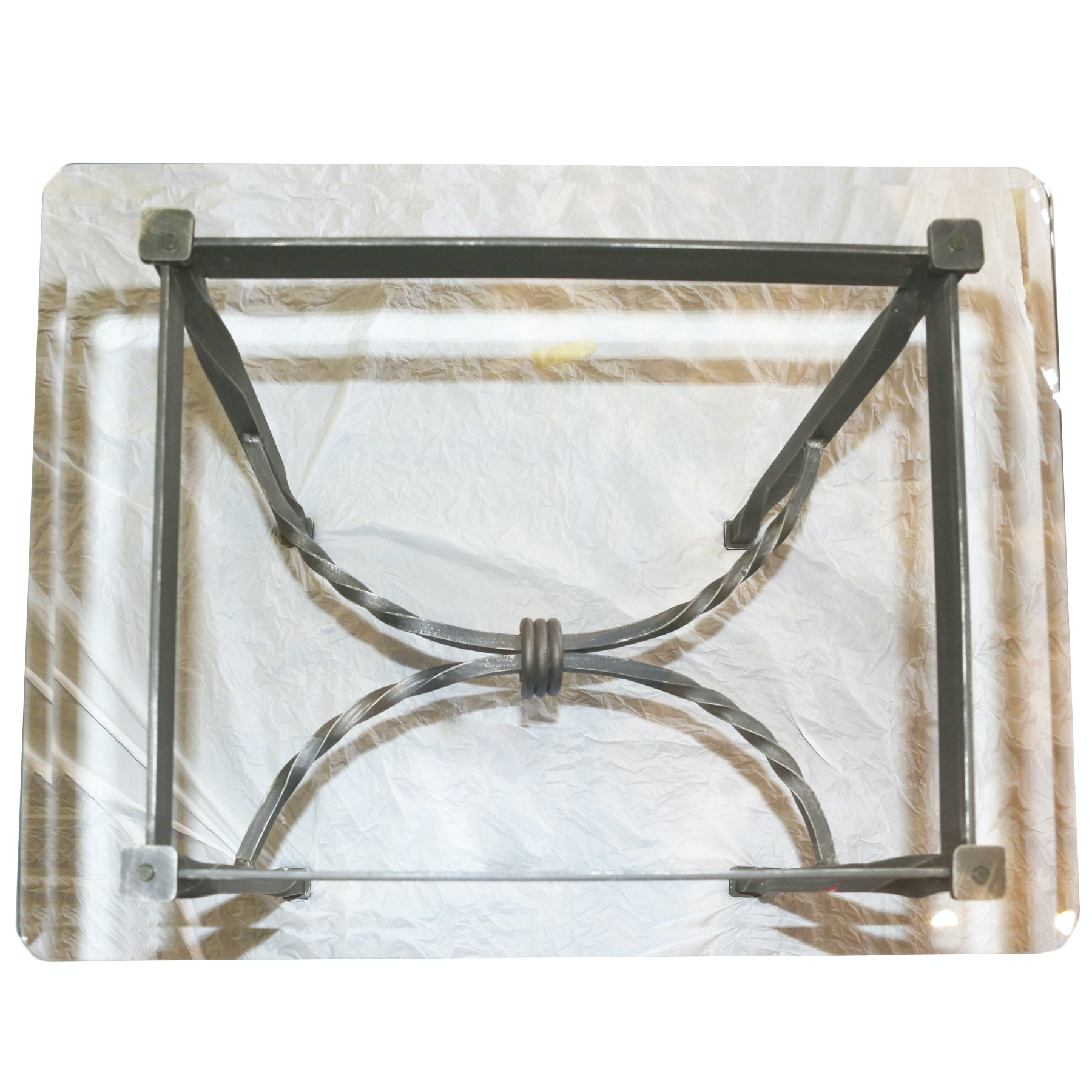 Wrought Iron Glass End Table