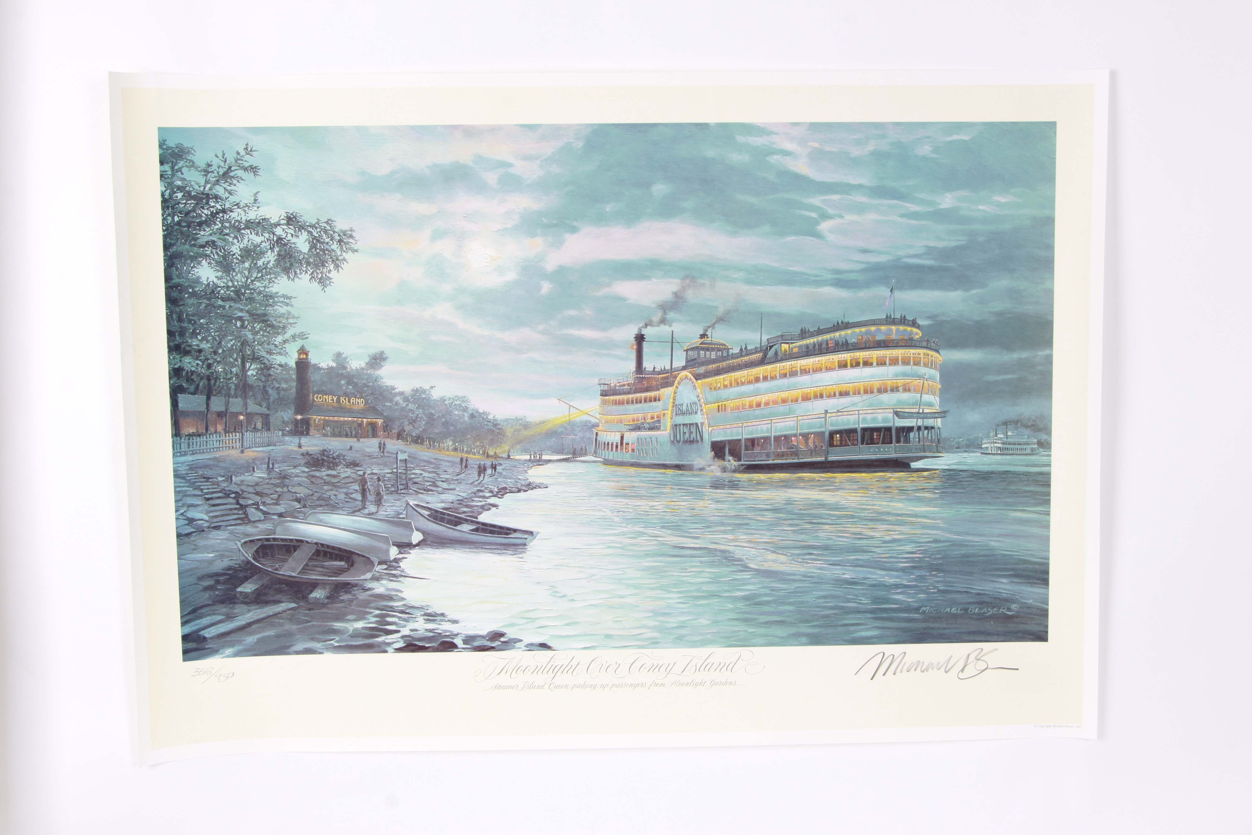 """Michael Blaser Signed Offset Lithograph """"Moonlight Over Coney Island"""""""
