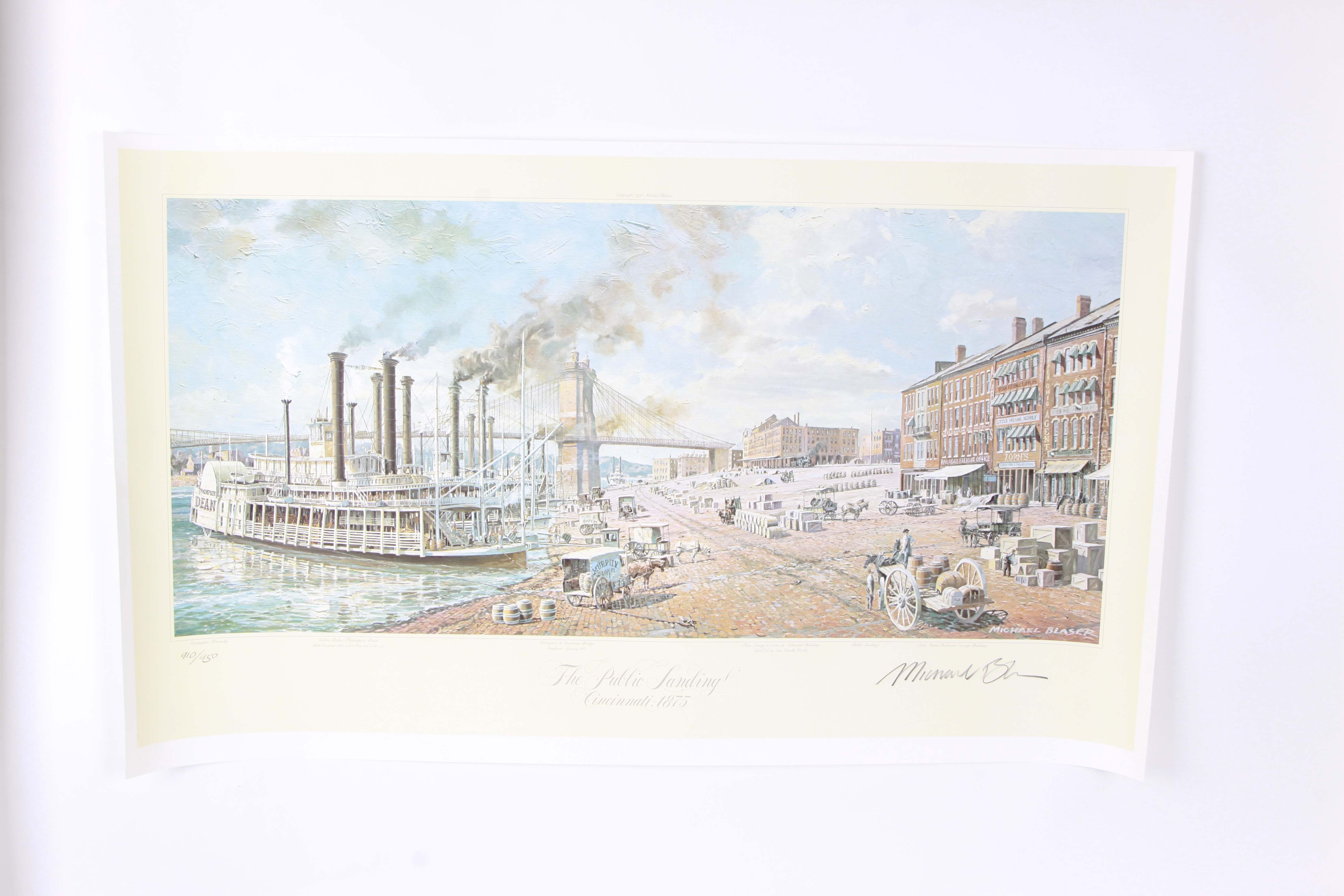 "Michael Blaser Offset Lithograph ""The Public Landing - Cincinnati 1875"""