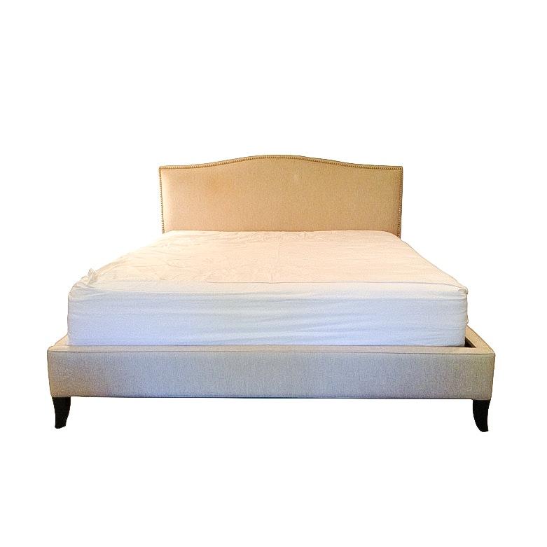 Crate and Barrel Upholstered Eastern King Size Colette Bed Frame