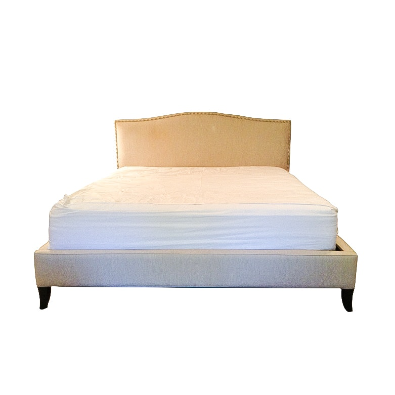 crate and barrel upholstered eastern king size colette bed frame
