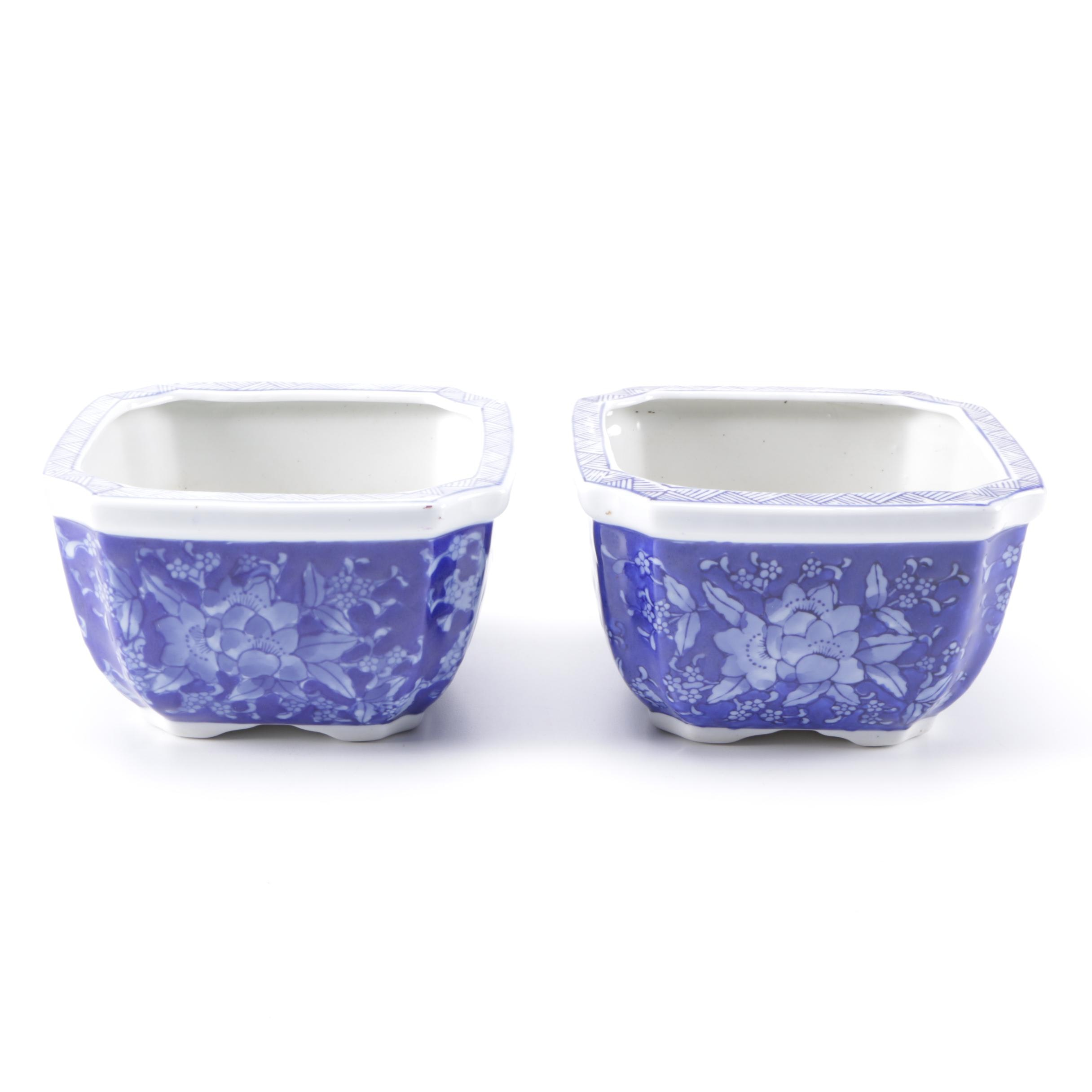 Pair of Blue and White Planters
