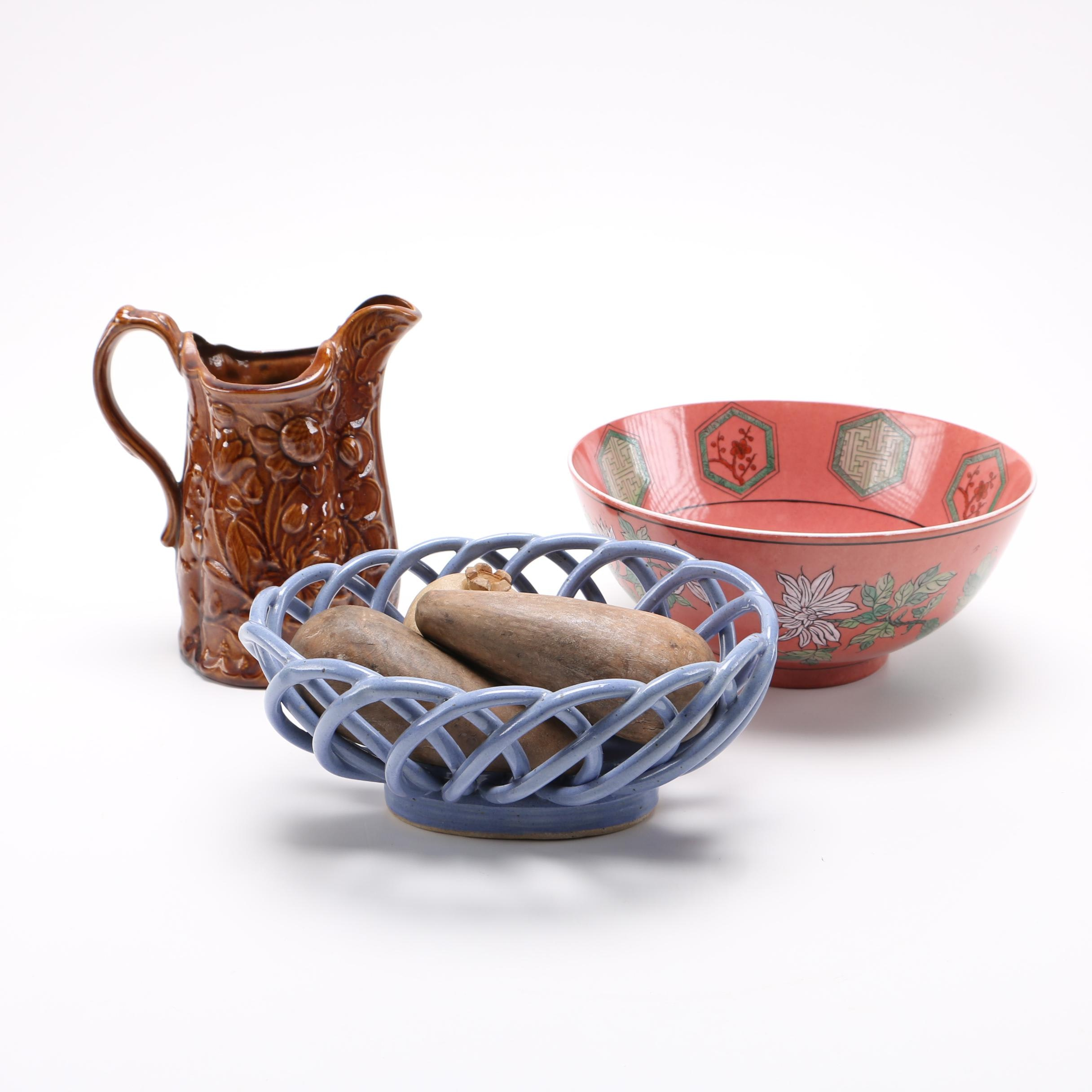 Overjoy Ceramic Bowl and Brown Glazed Pitcher