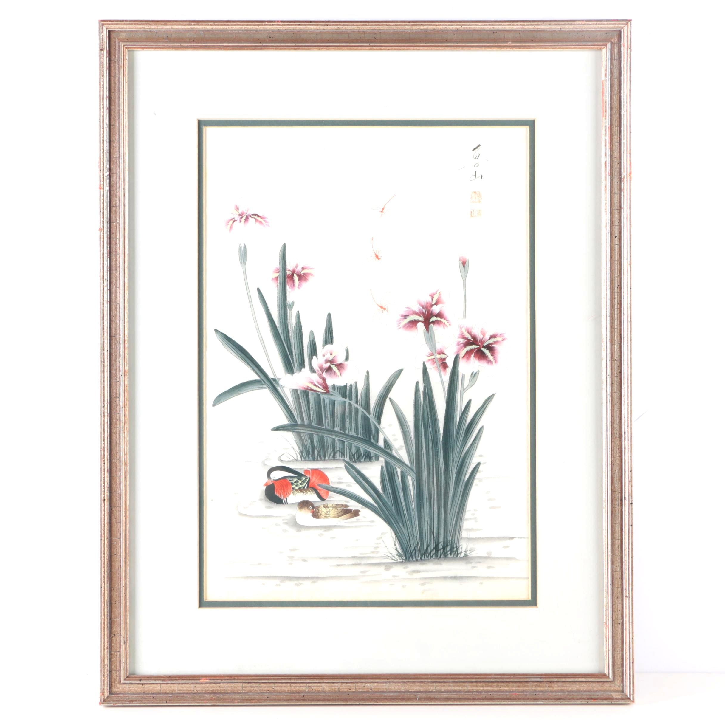 East Asian Gouache and Ink Painting of Flowers and Ducks
