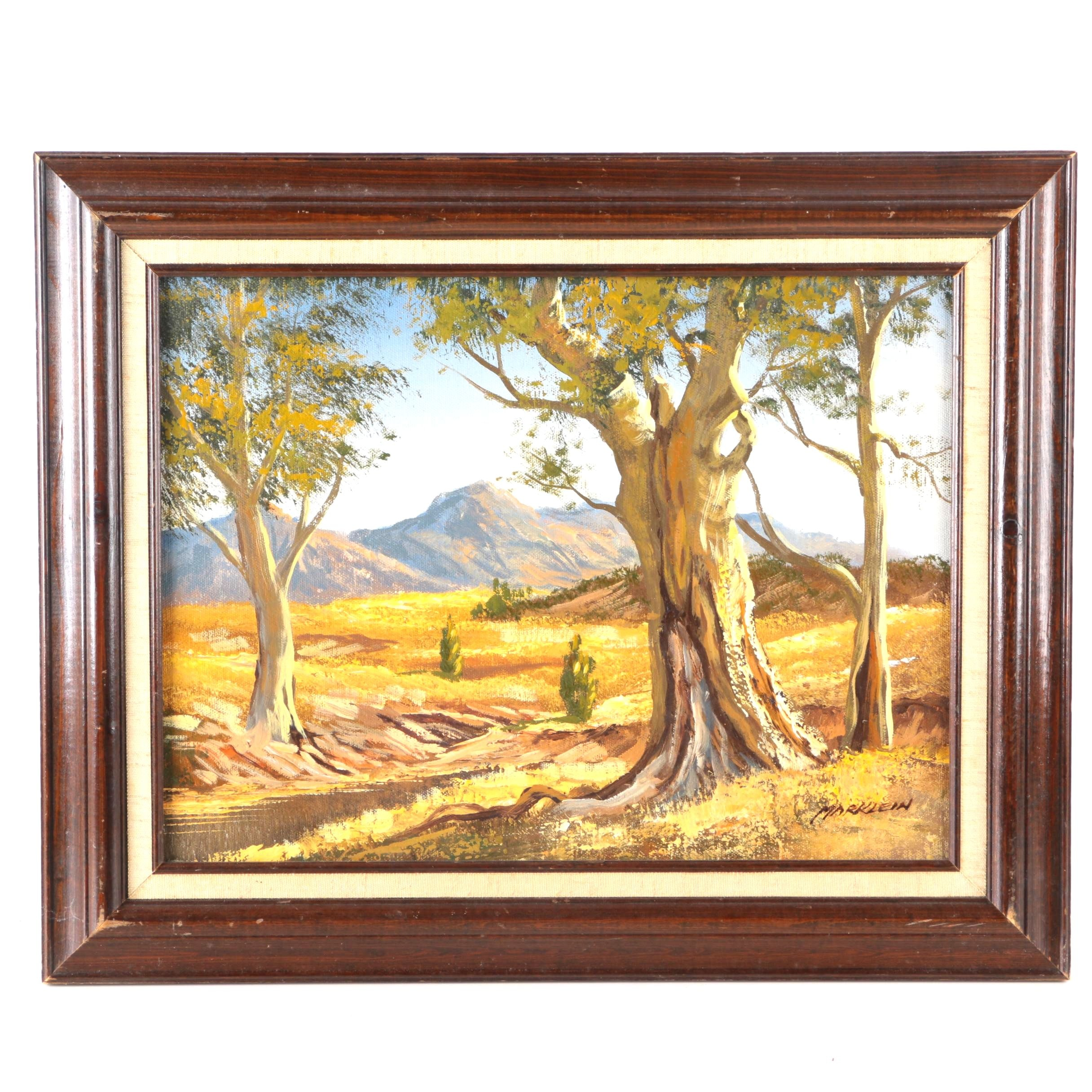 Signed Oil on Board Landscape Painting