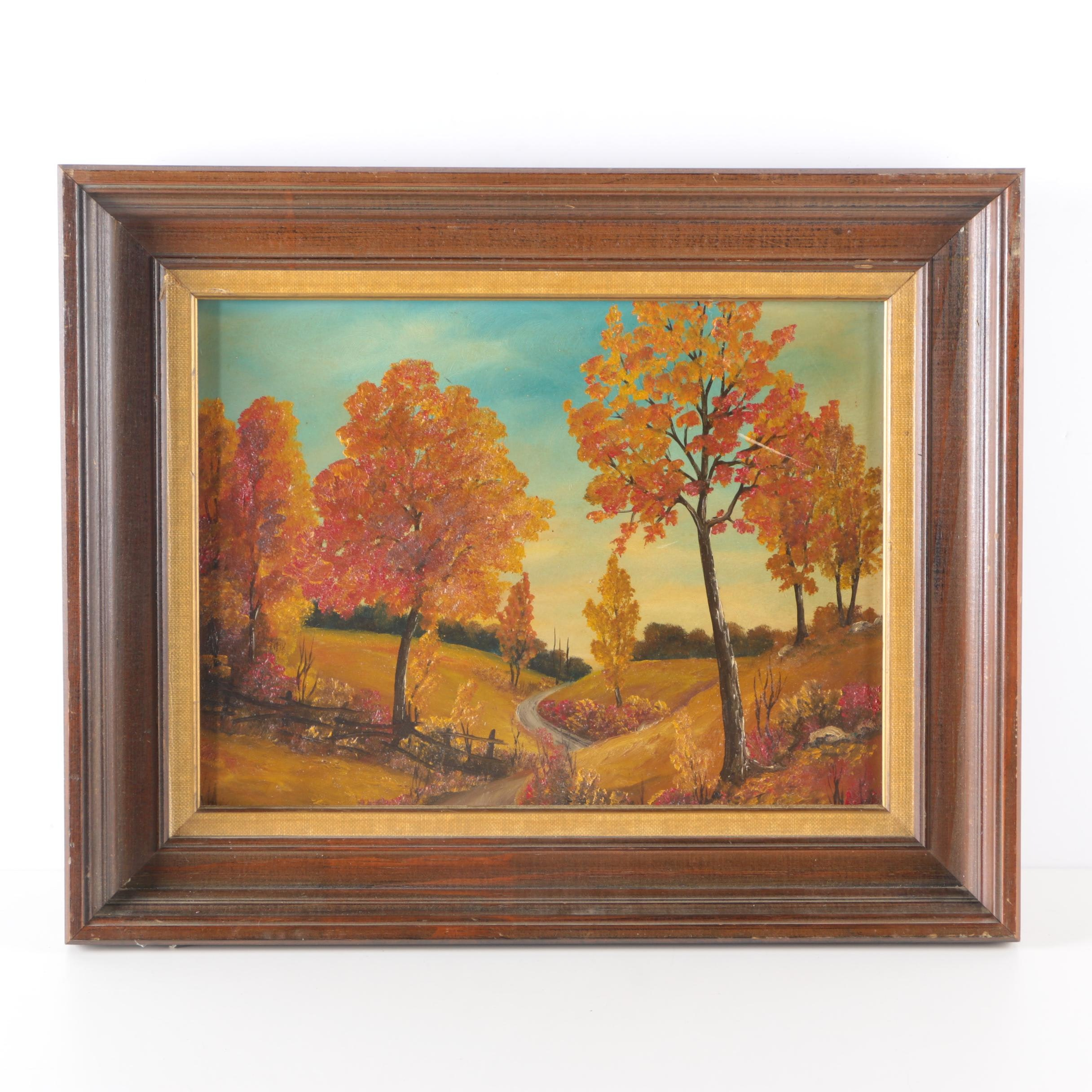 Oil on Academy Board Painting of Autumn Landscape