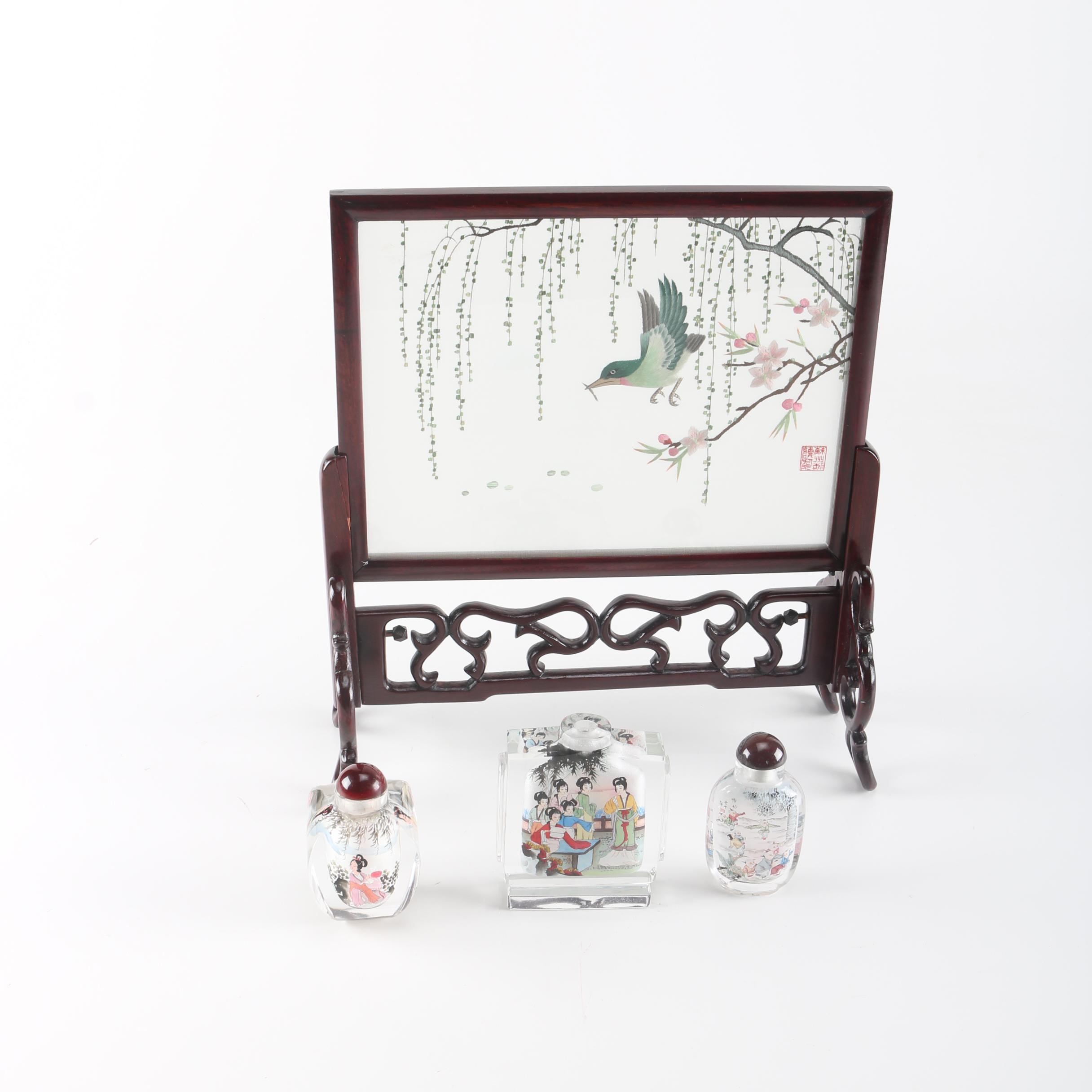 Chinese Framed Embroidered Table Screen and Snuff Bottles