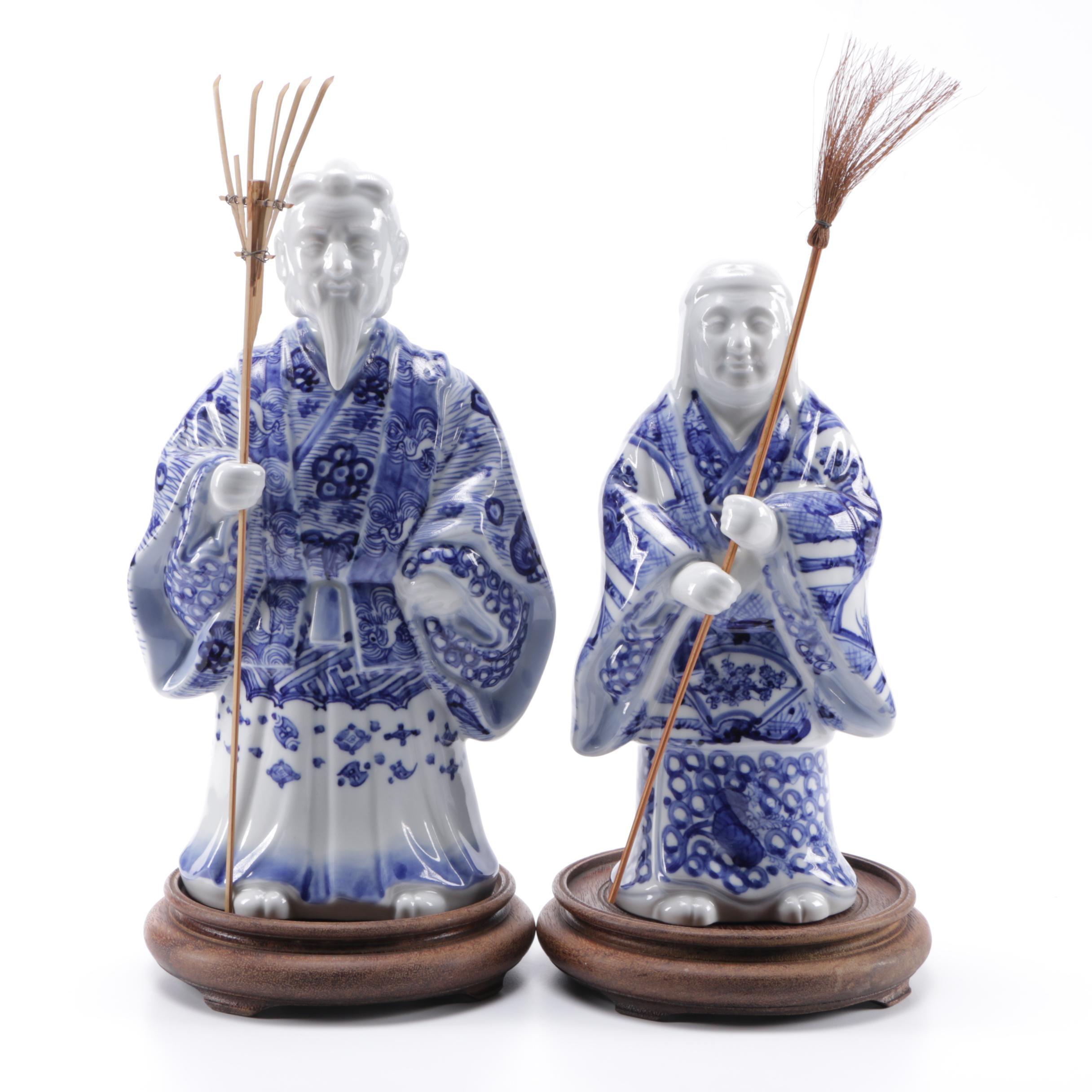 Japanese Blue and White Ceramic Figurines