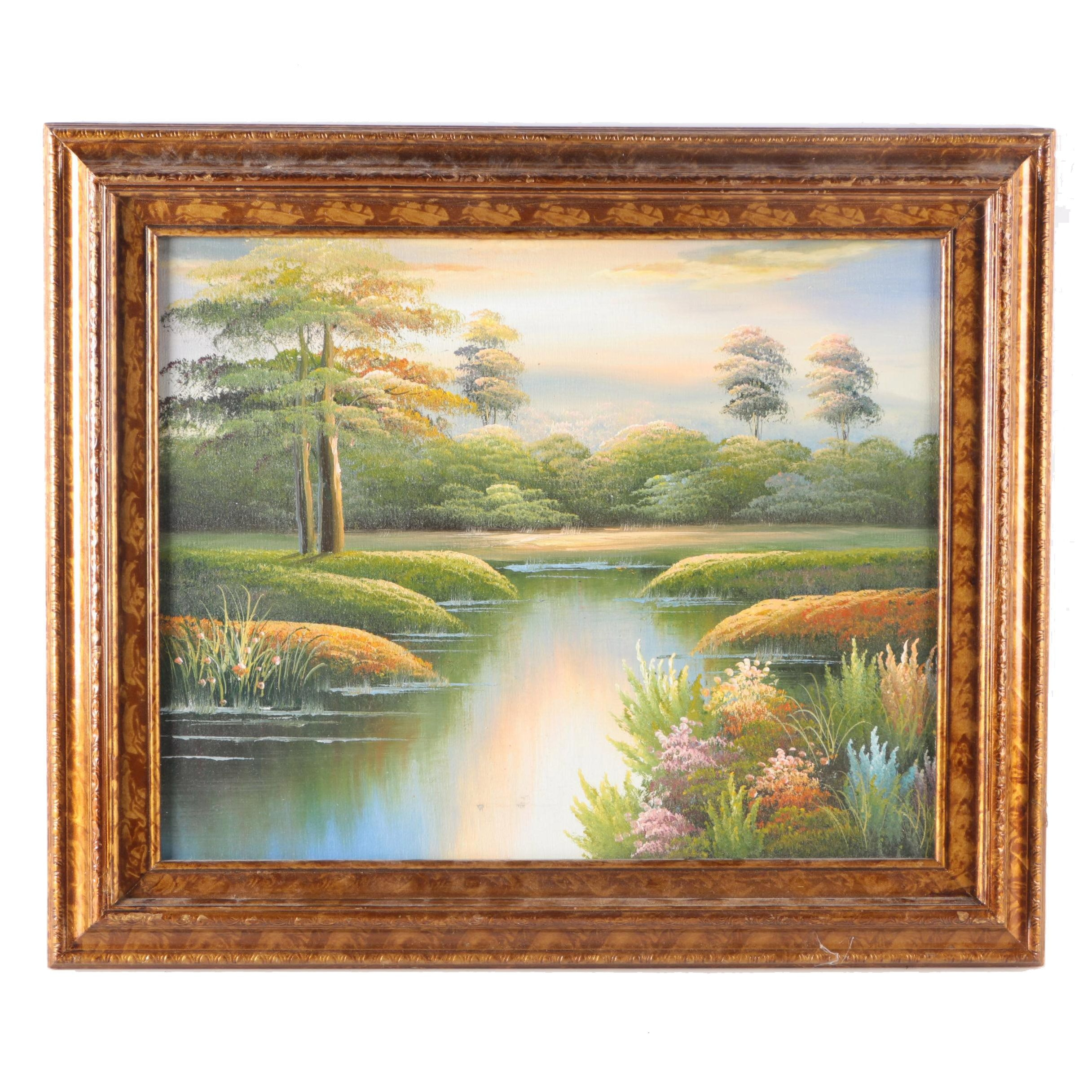 Framed Oil Painting on Canvas of a Landscape