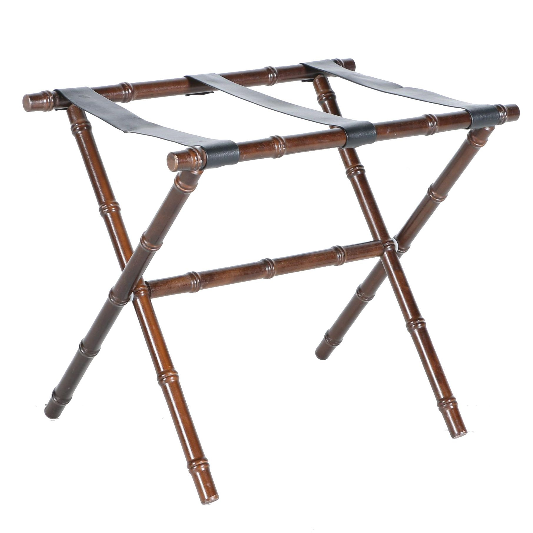 Walnut Luggage Rack With Faux Leather Straps