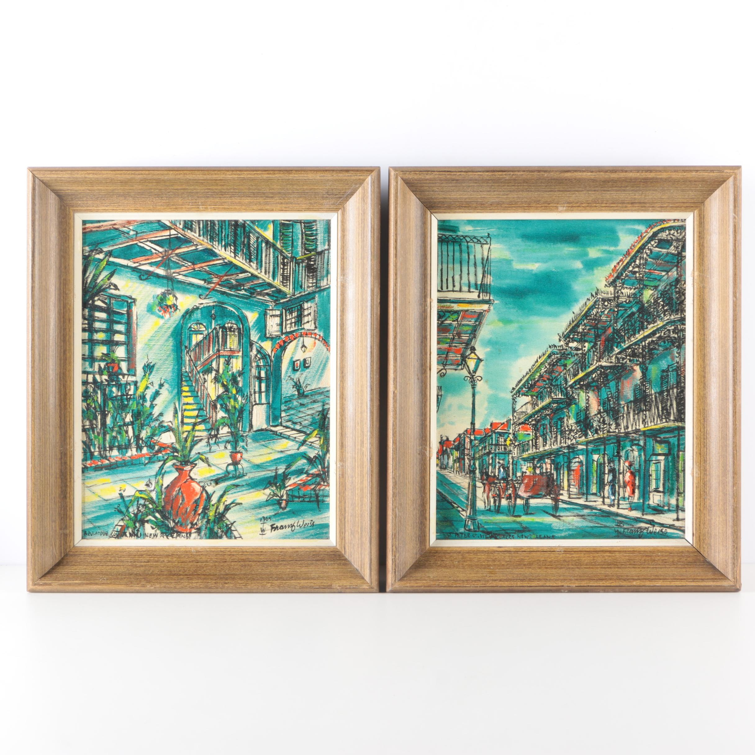 Pair of 1965 Franz Weiss Oil Paintings of New Orleans