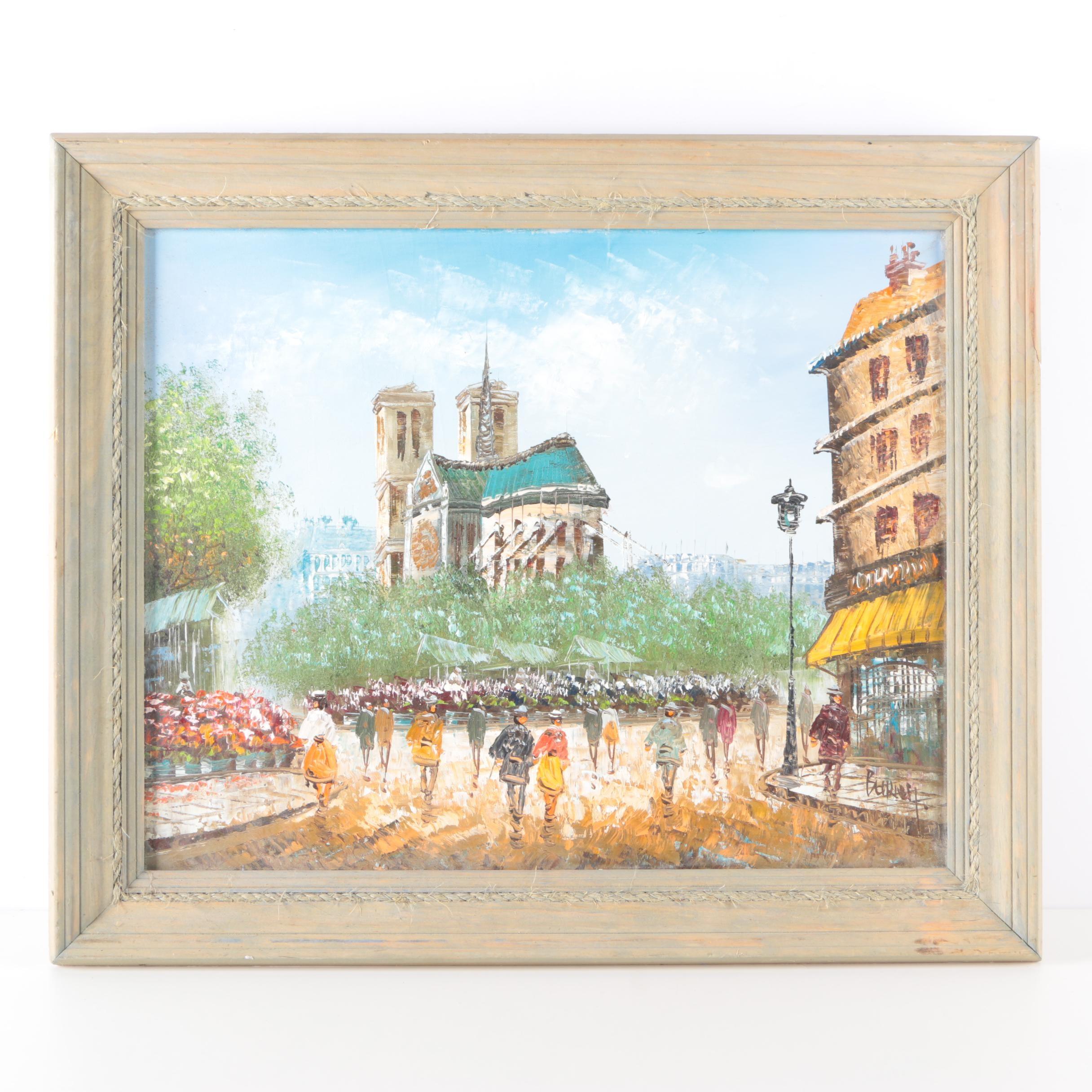 Burney Oil Painting on Canvas of Parisian Street