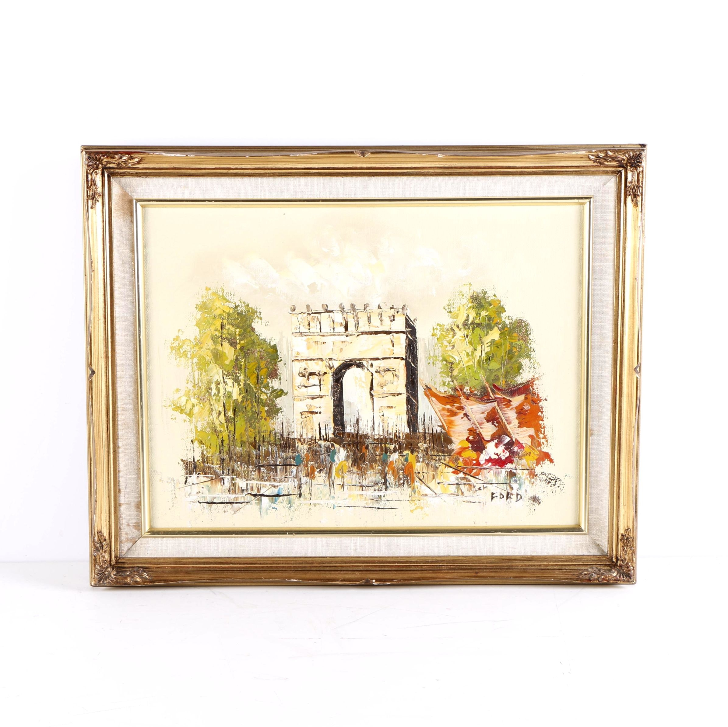 Signed Acrylic Painting  of Arch De Triomphe on Canvas