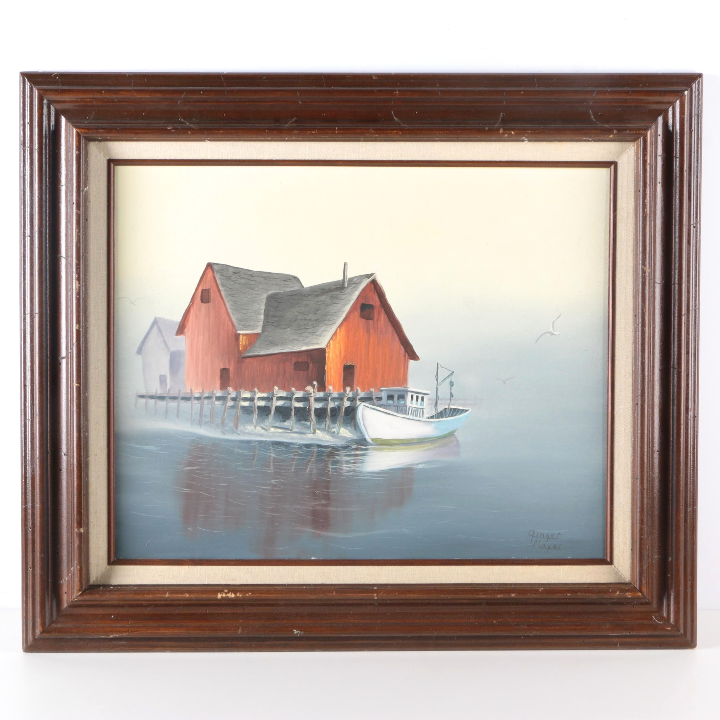Signed Oil on Canvas of Boat and Boathouse