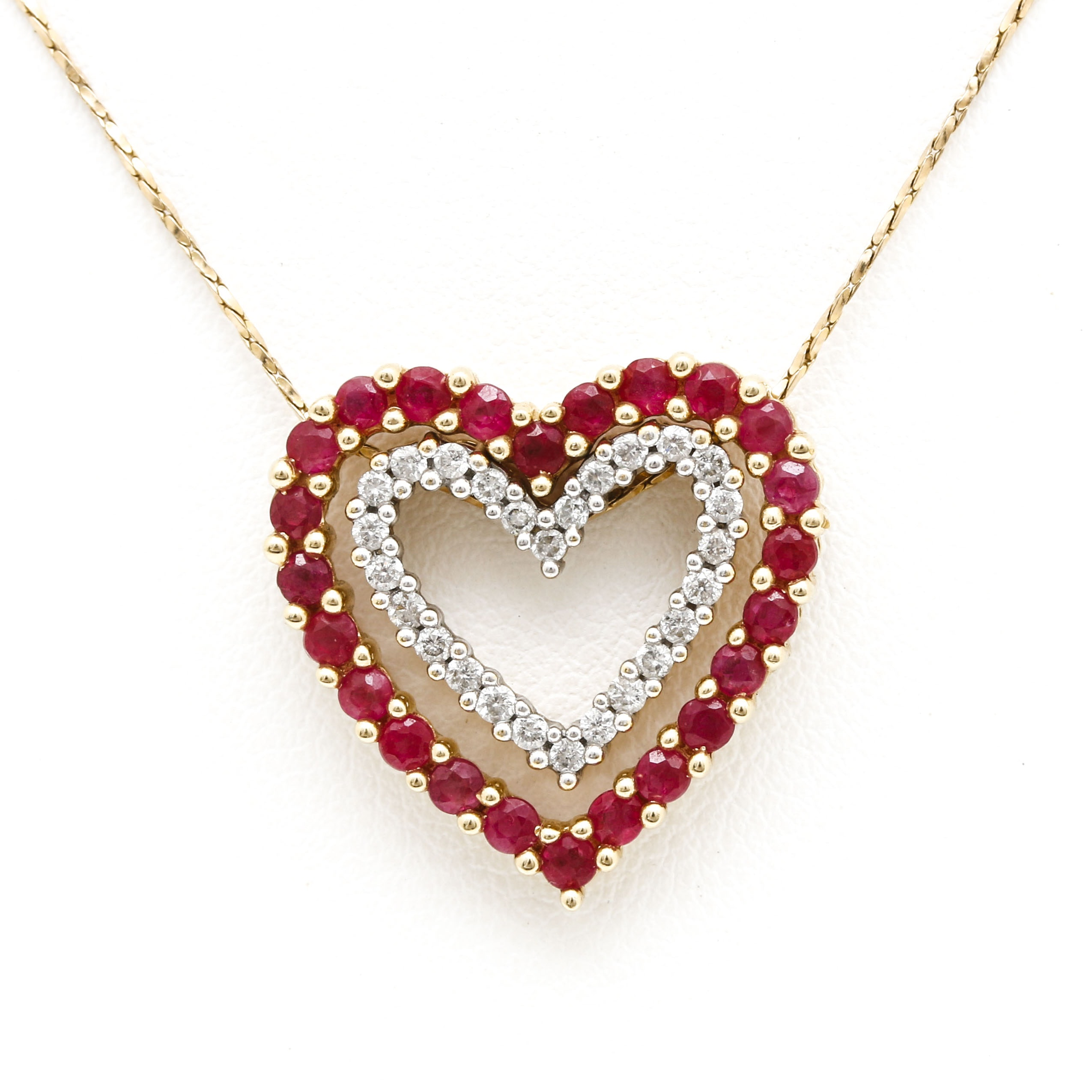 10K and 14K Yellow Gold Necklace with Ruby and Diamond Double Heart Pendants