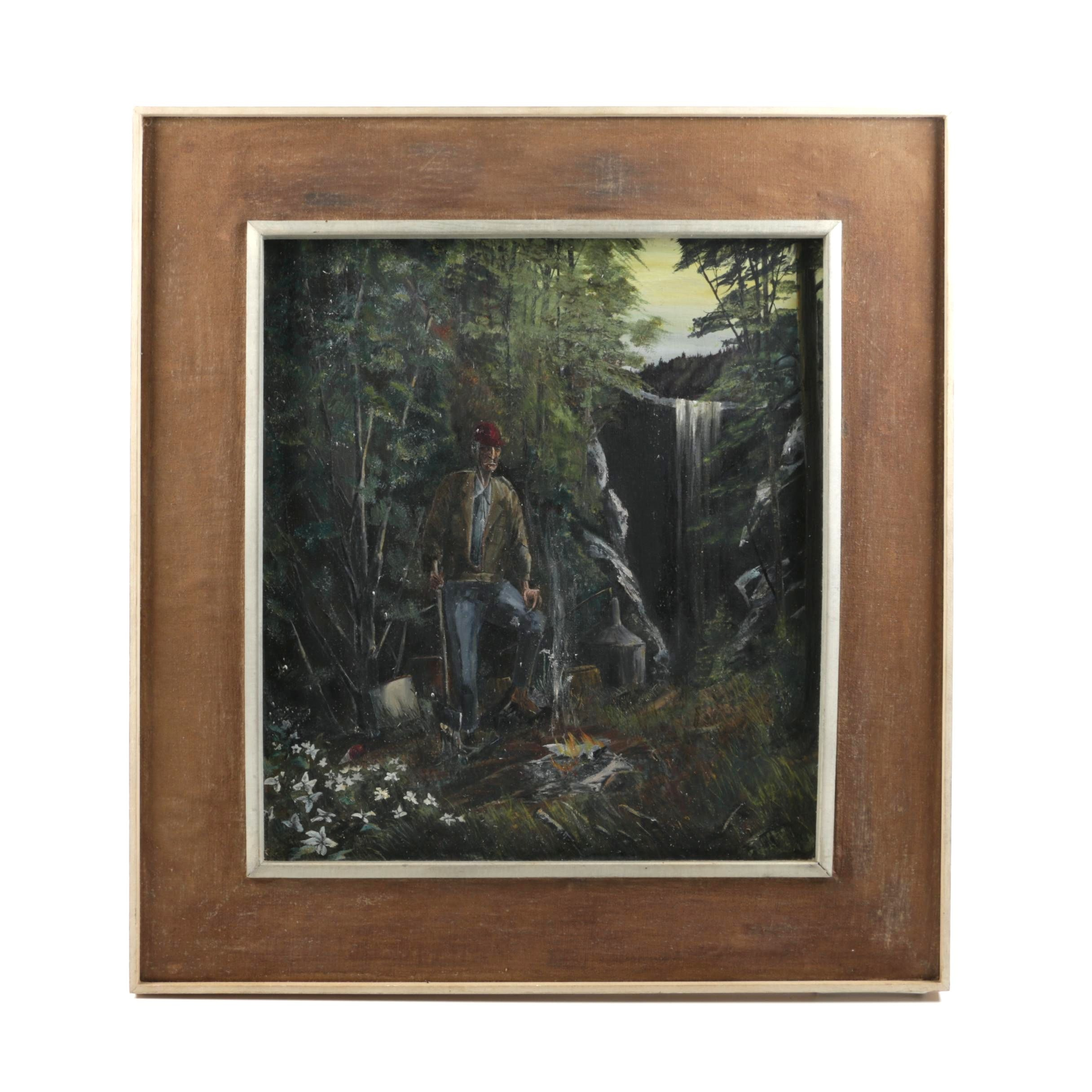 Oil Painting on Canvas of a Man Standing by a Campfire and Waterfall