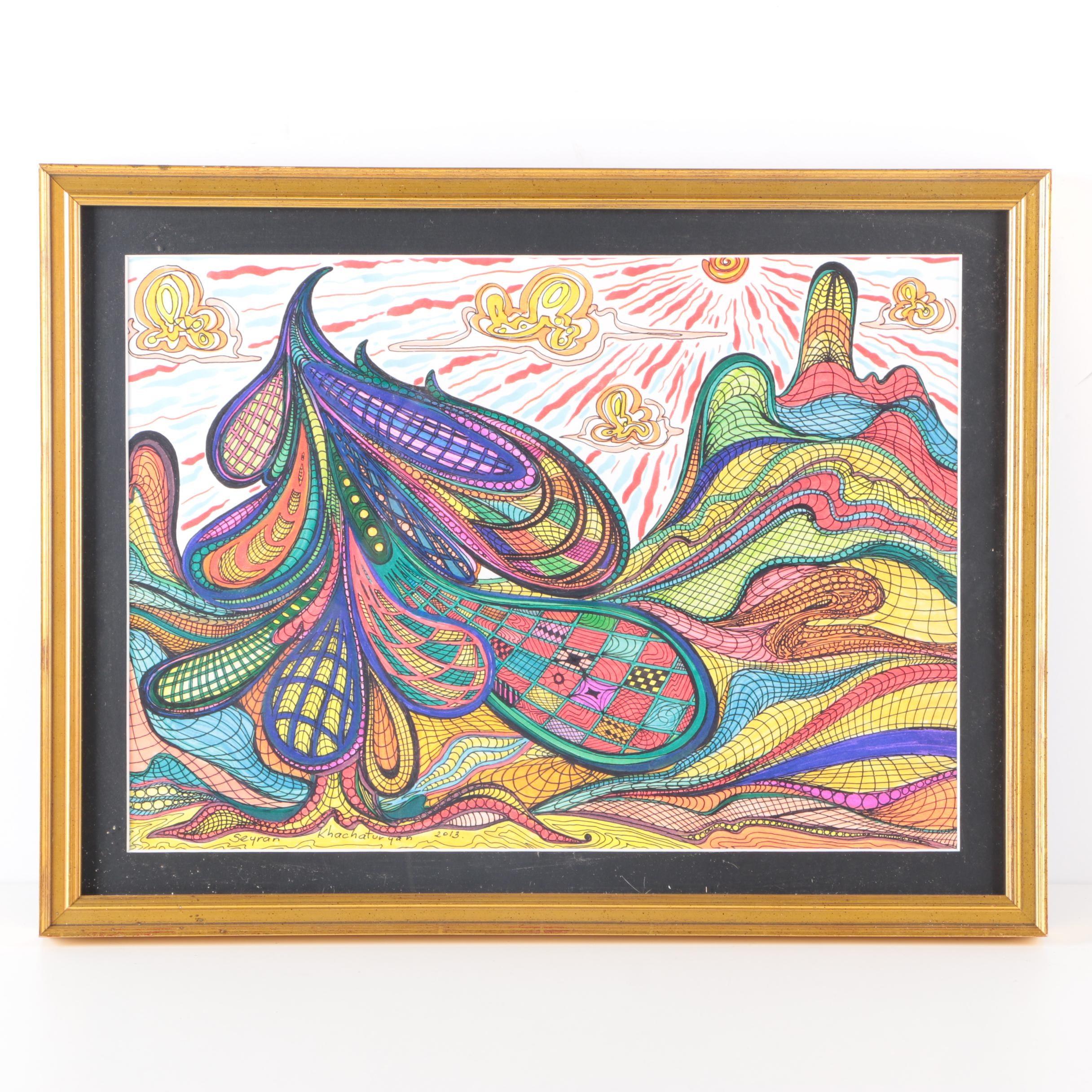 2013 Seyran Khachaturyan Pen and Ink Drawing on Paper
