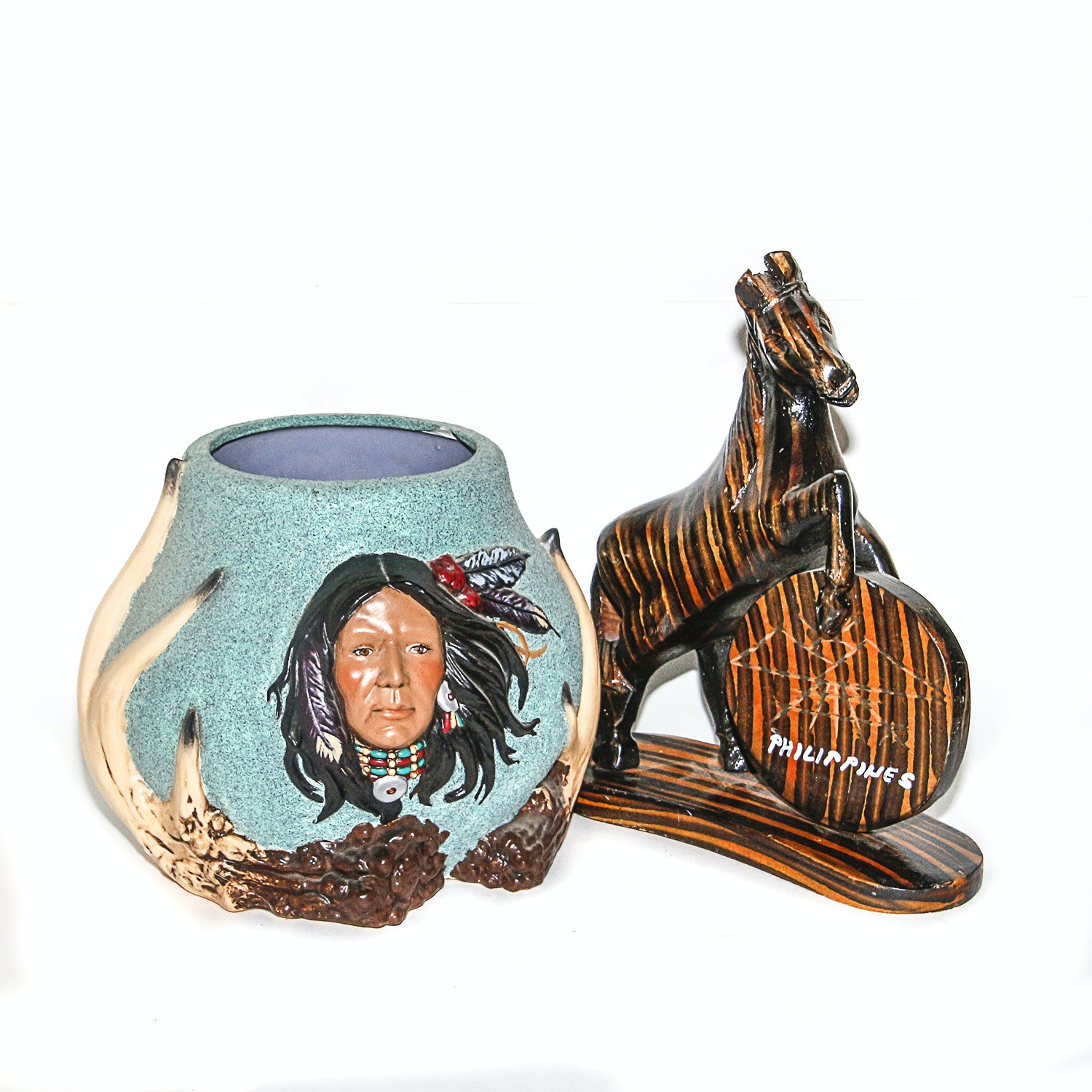 Ceramic Pot with Raised Relief of Native American and Carved Wooden Horse