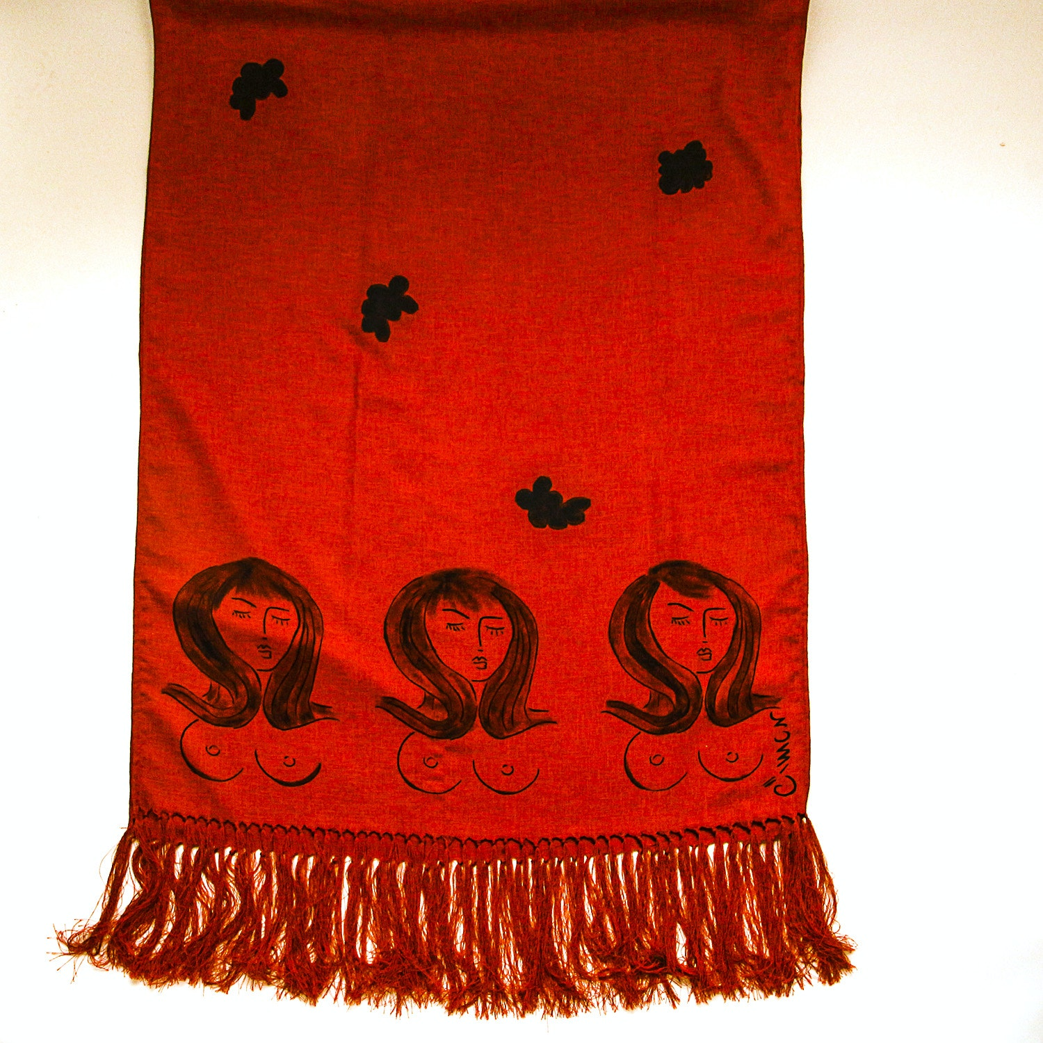 Designer  Fringed Shawl Signed by Artist