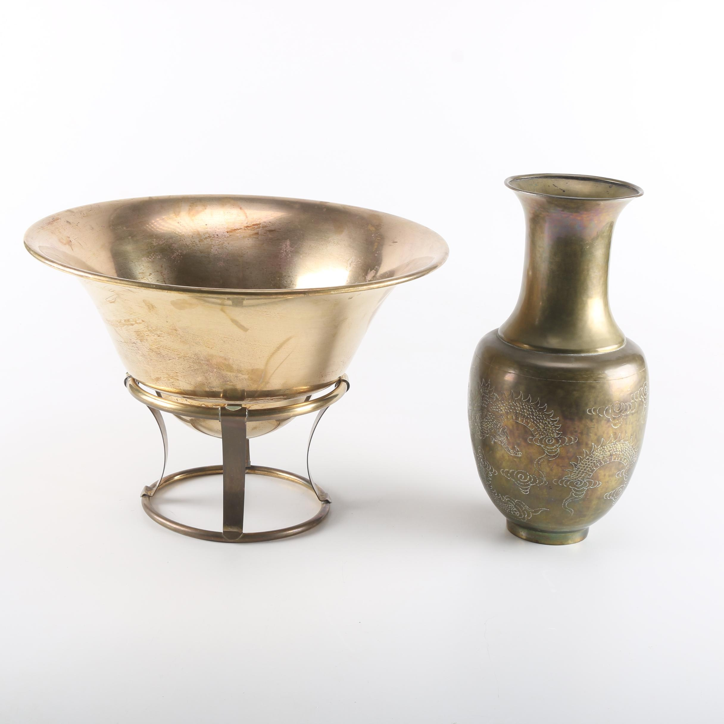 Chinese Style Brass Bowl and Vase