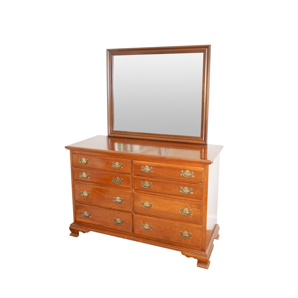 Ethan Allen Early American Solid Cherry Dresser and Mirror