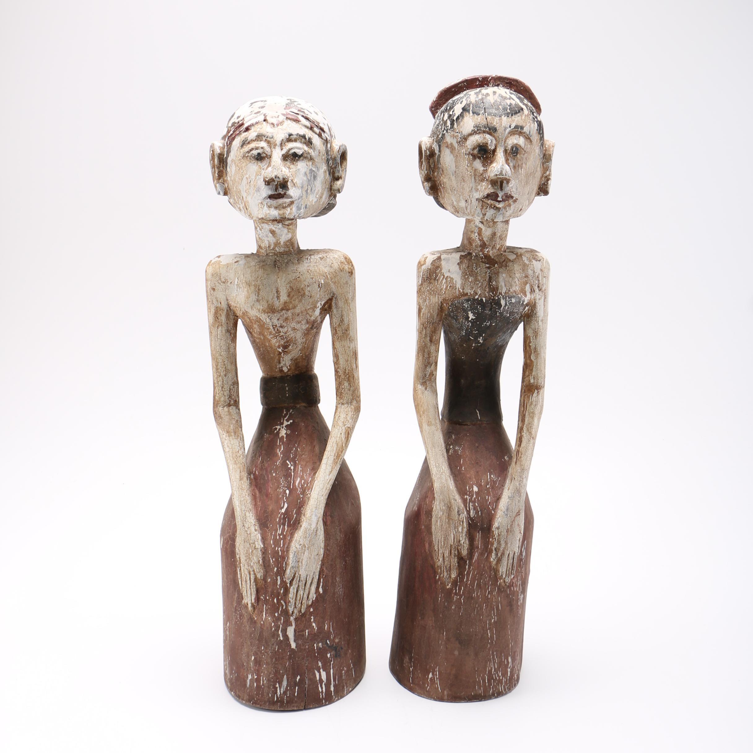 Javanese Style Carved Wooden Loro Blonyo Figures