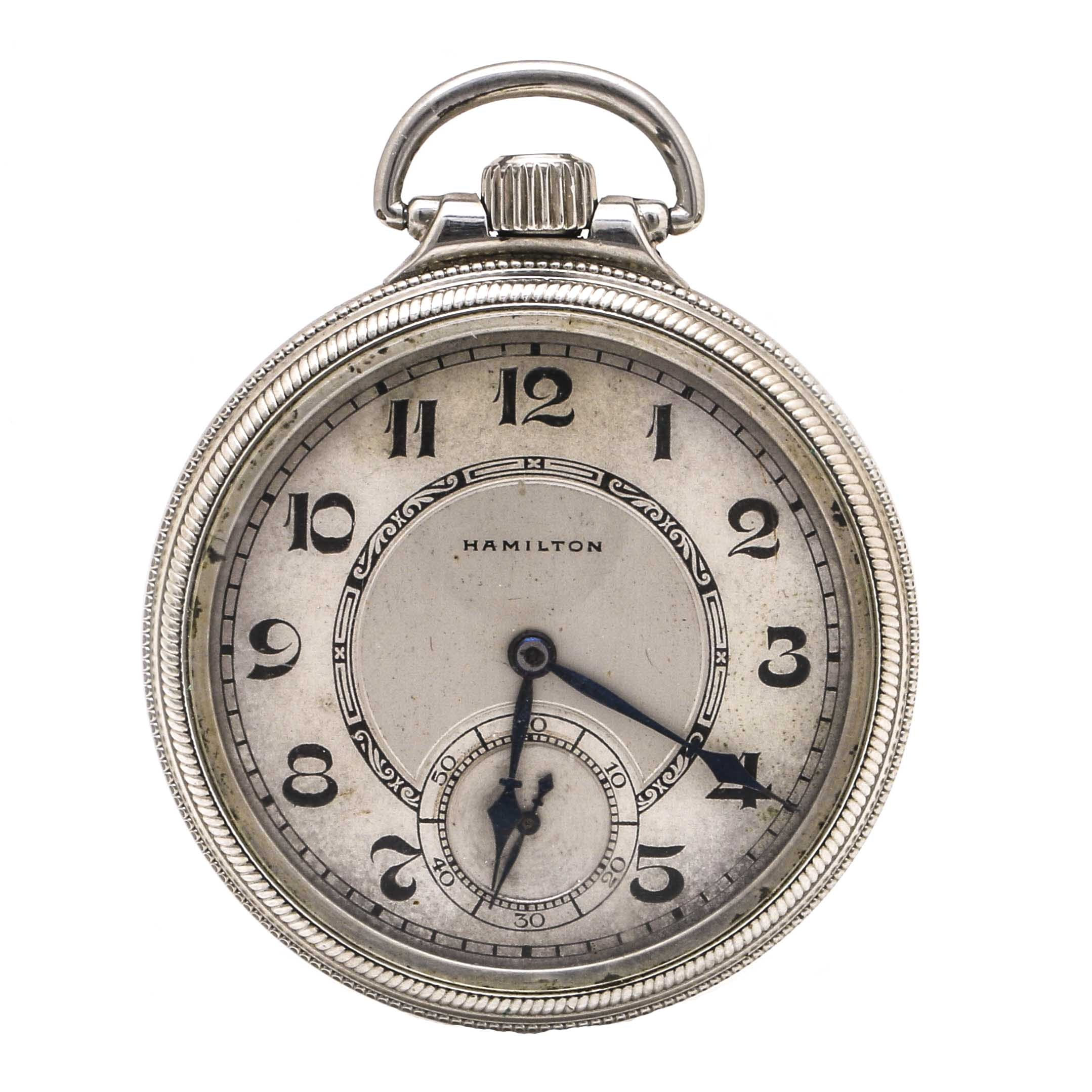 Vintage Hamilton Personalized White Gold Filled Pocket Watch