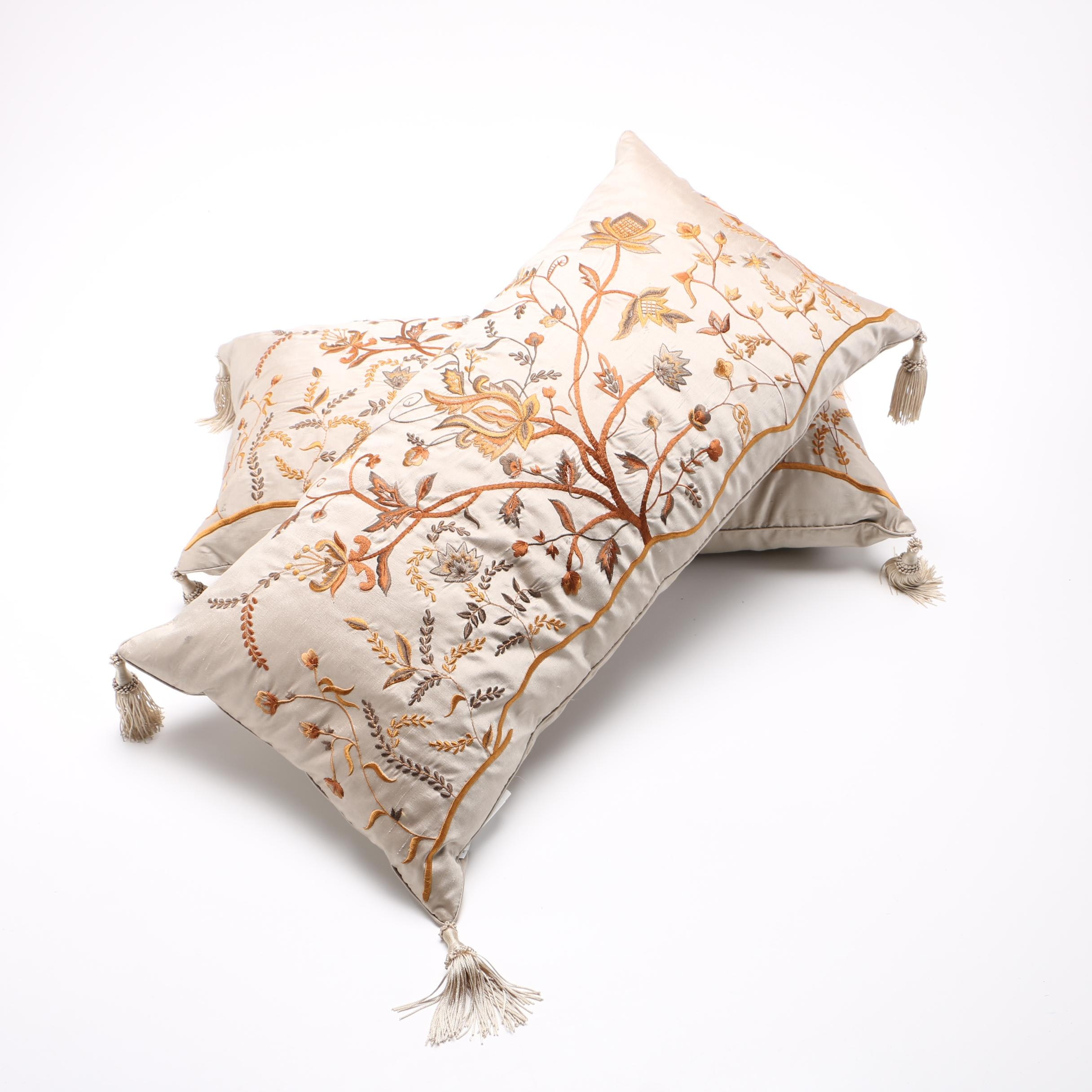 Embroidered Silk and Downfilled Throw Pillows