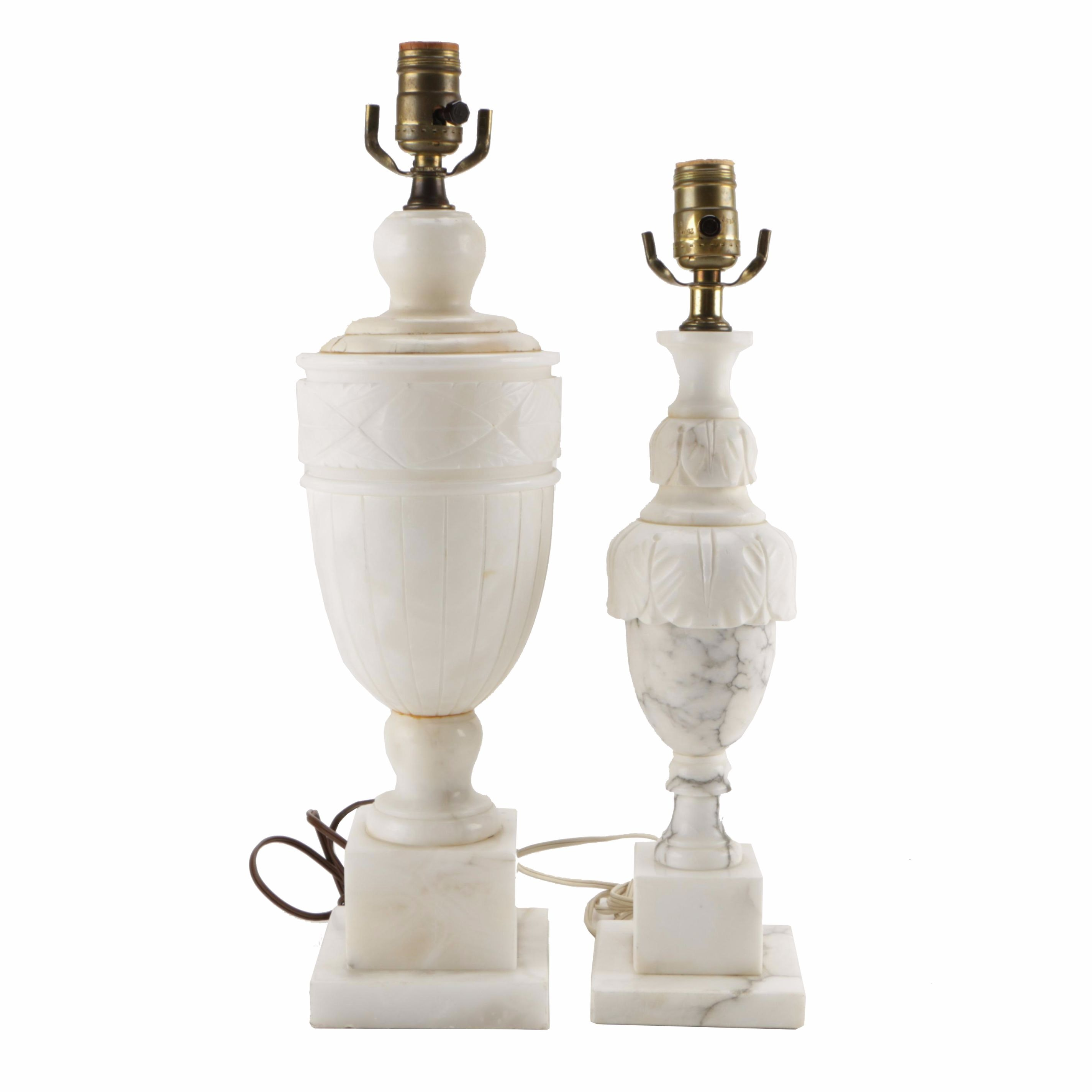 Pair of Alabaster and Marble Table Lamps