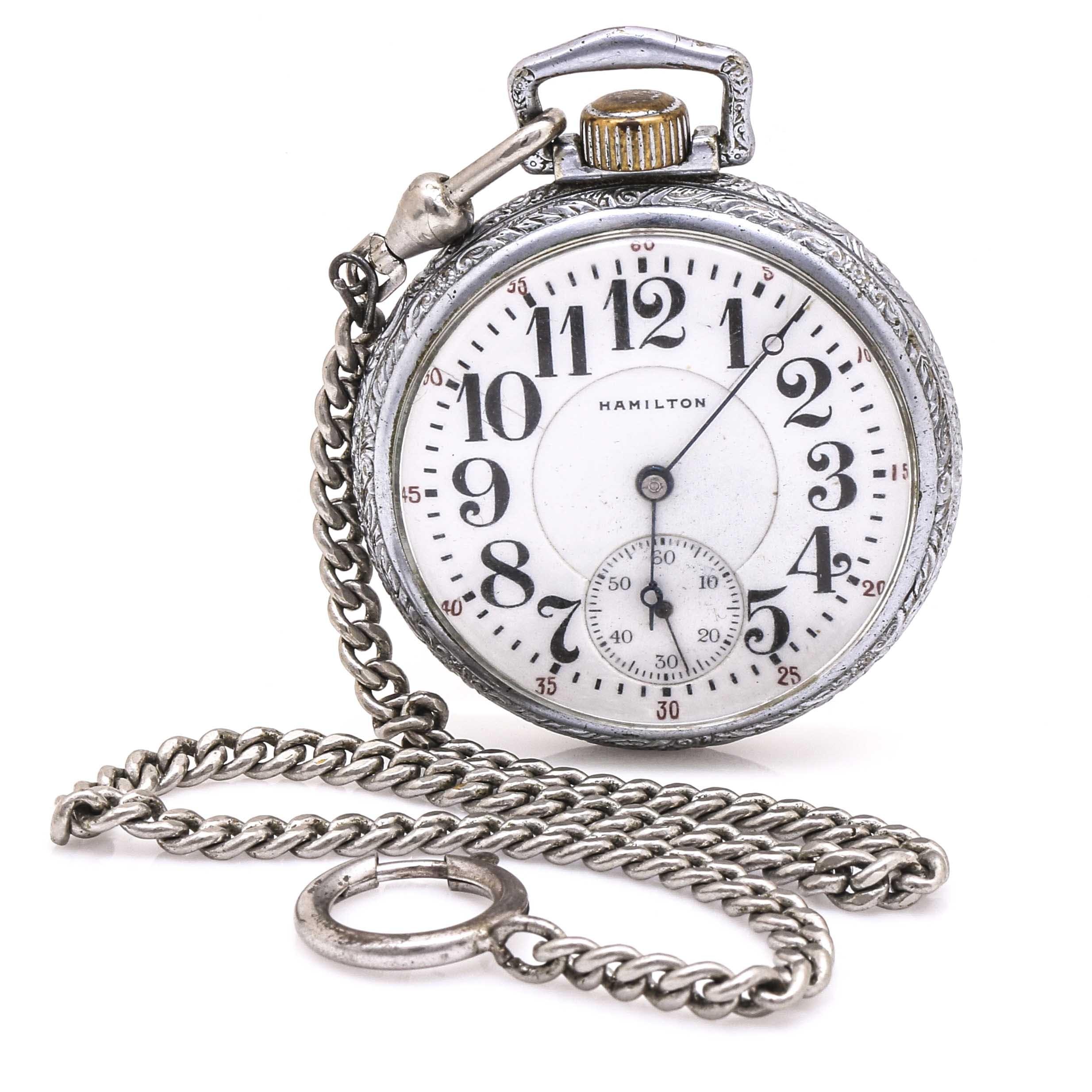 Antique Hamilton Silver Tone Pocket Watch