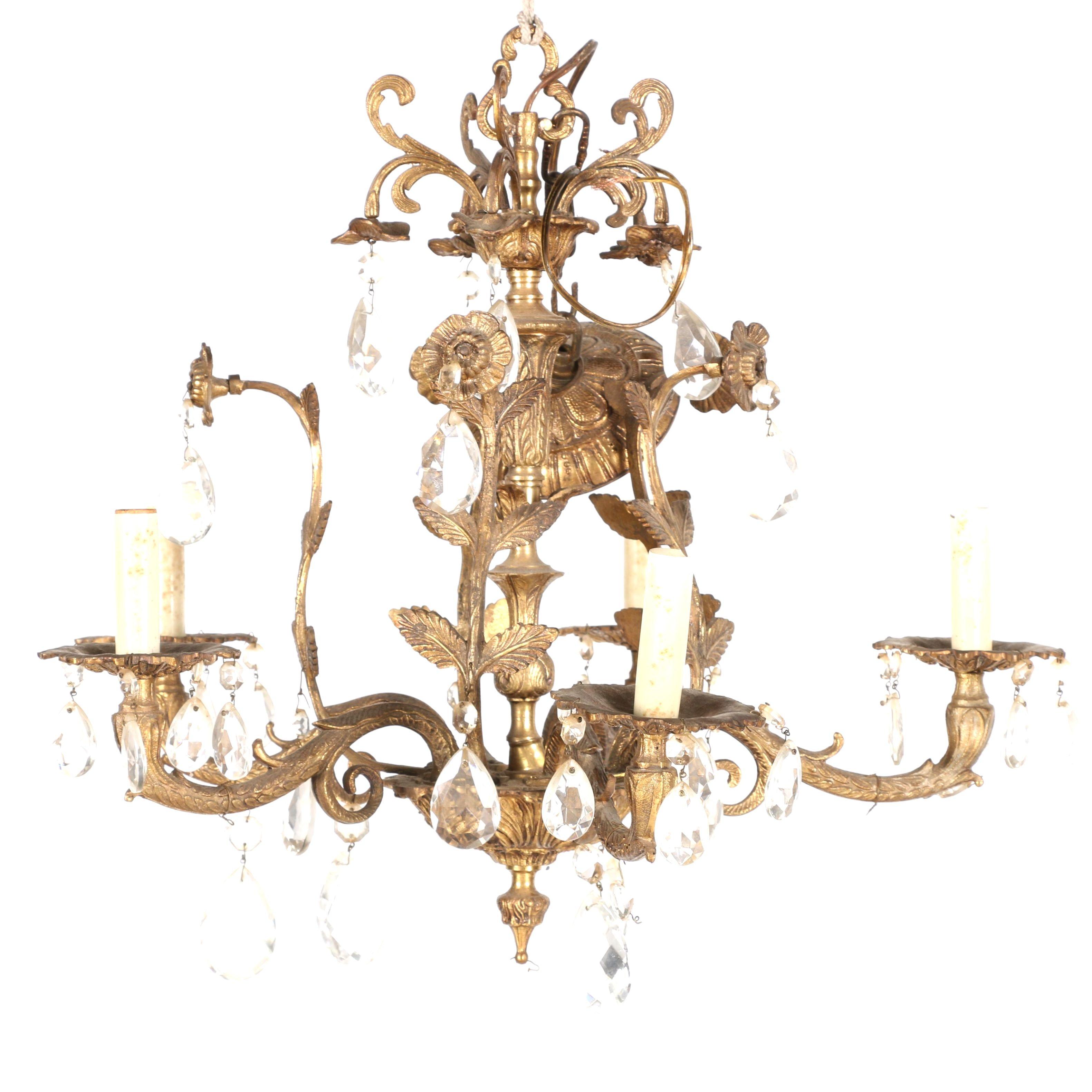 Brass Uplight Chandelier