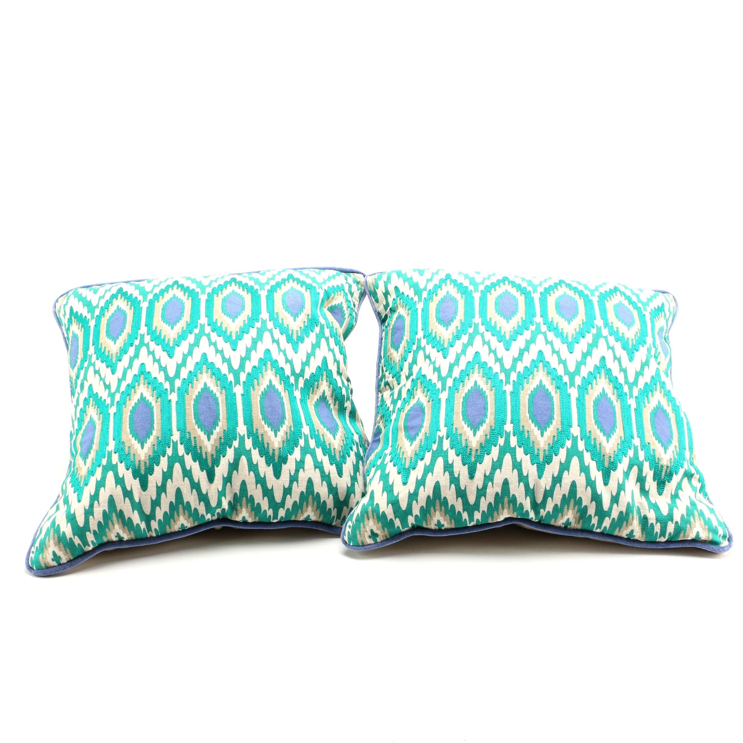Pair Blue and Green Throw Pillows