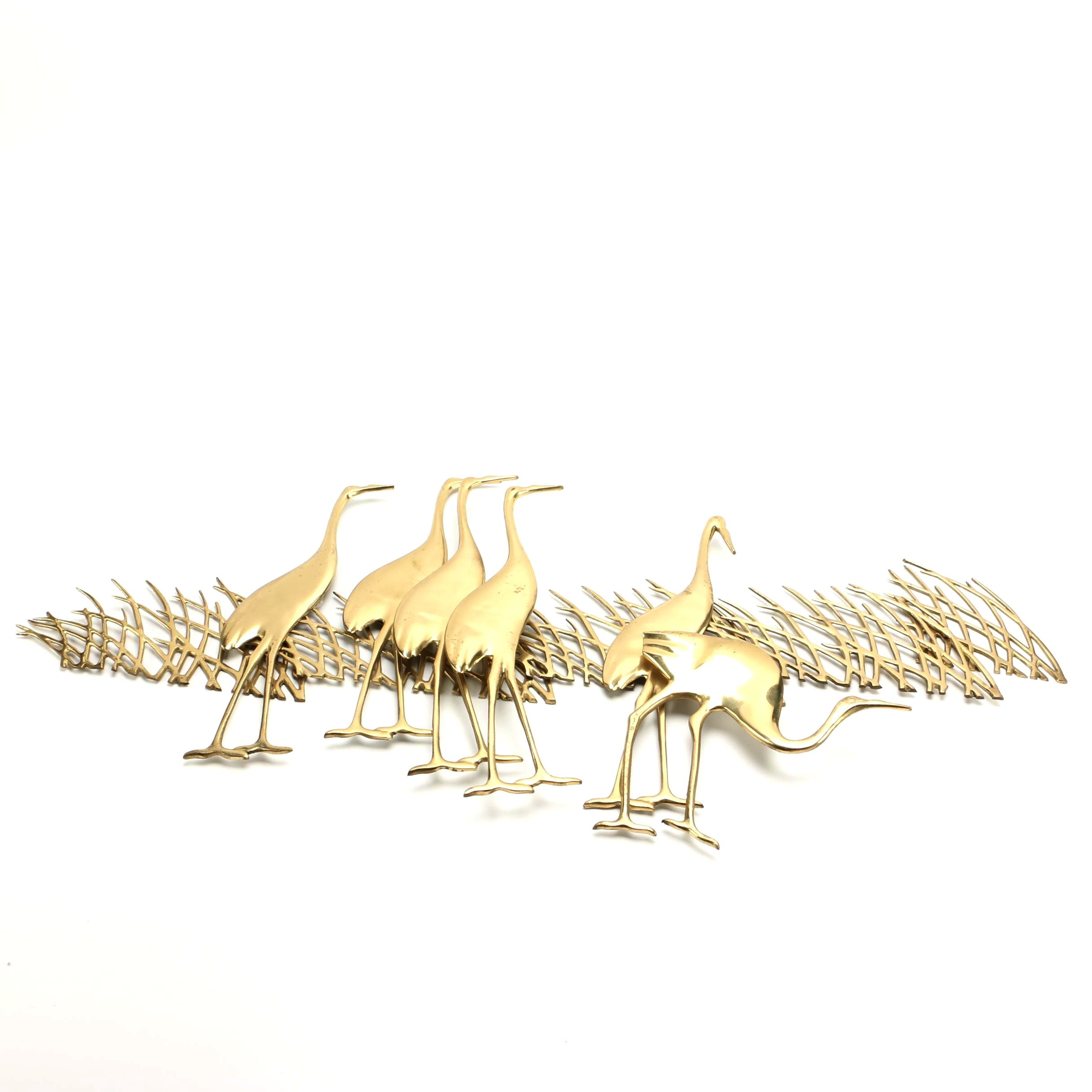 Brass Wall Hanging Sculpture of Cranes