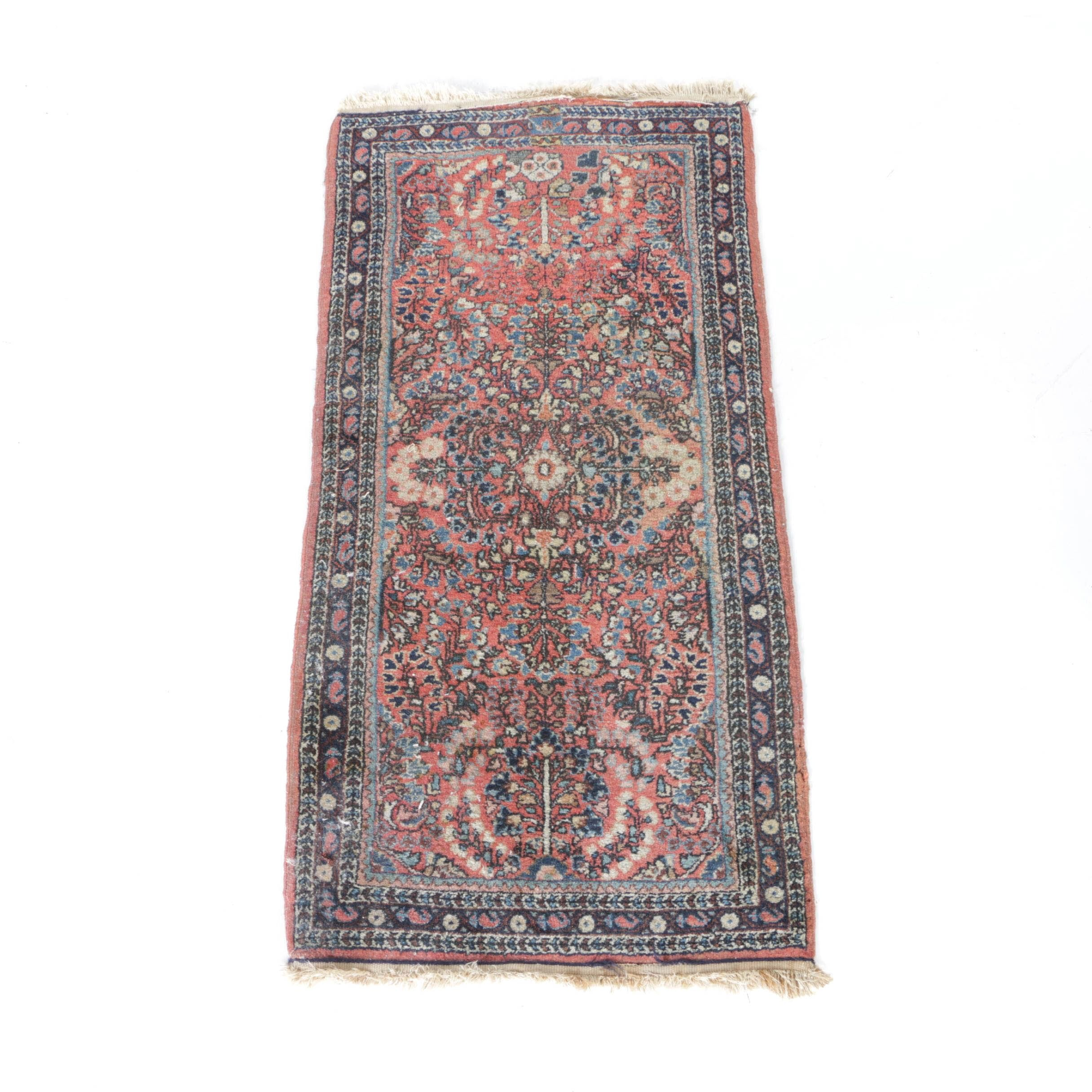 Hand-Knotted Sarouk Style Accent Rug