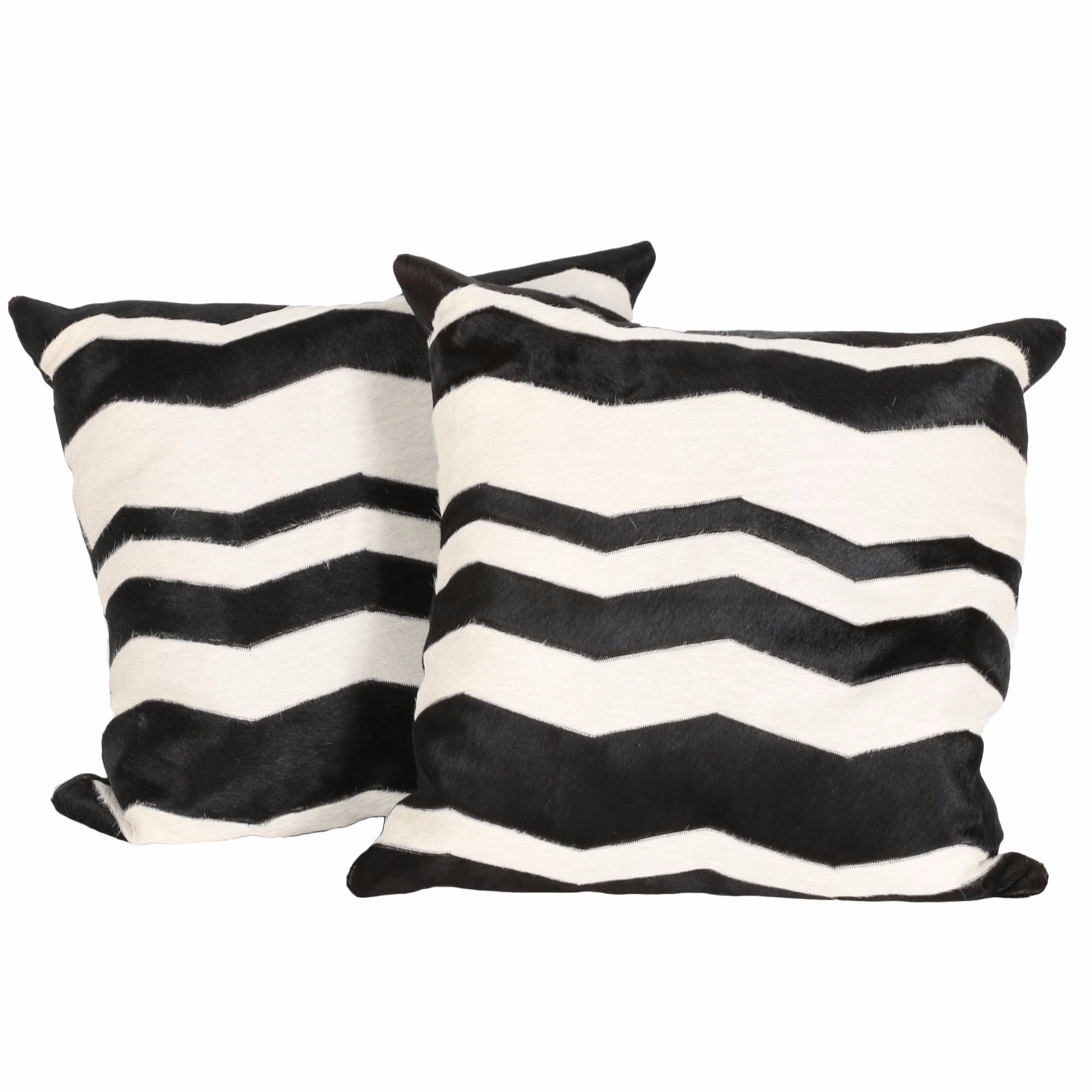 Black and White Chevron Patterned Down and Feather Throw Pillows