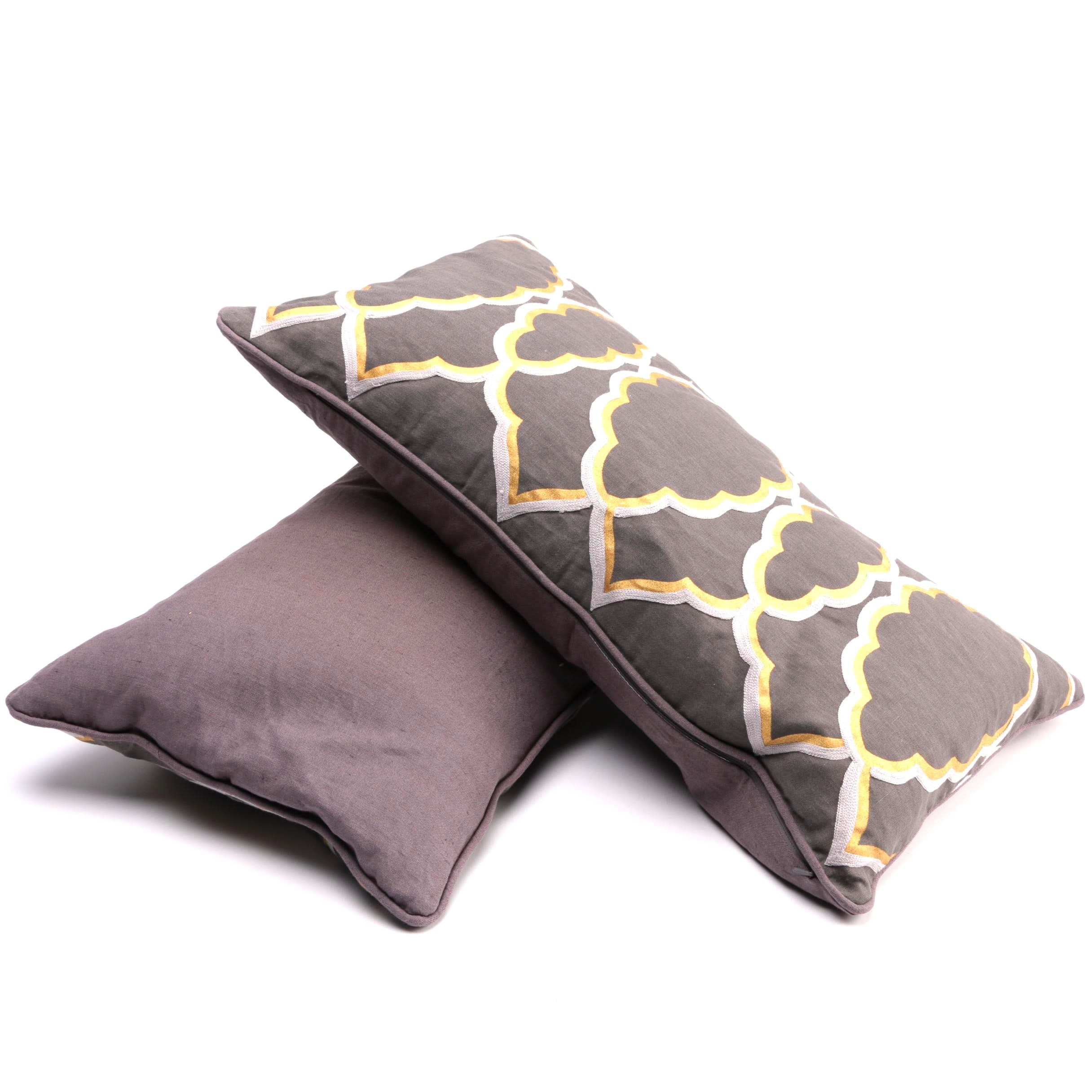 Brown and Gold Tone Embroidered Lumbar Pillows