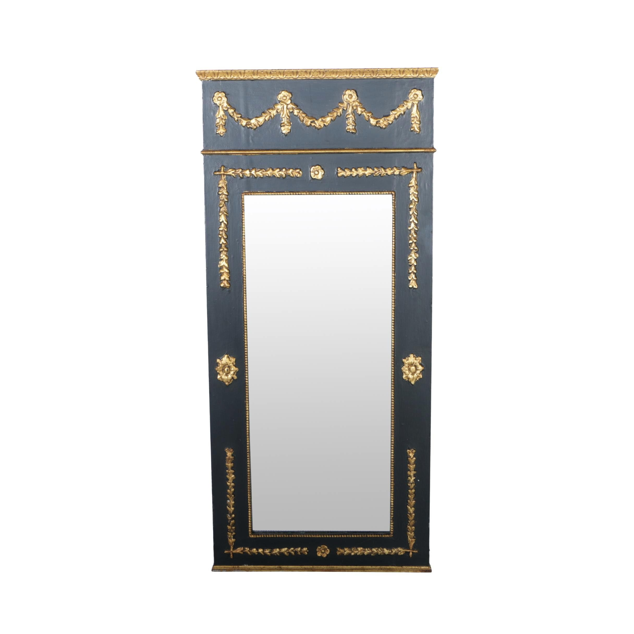 Empire Style Black and Gold-Tone Wooden Wall Mirror