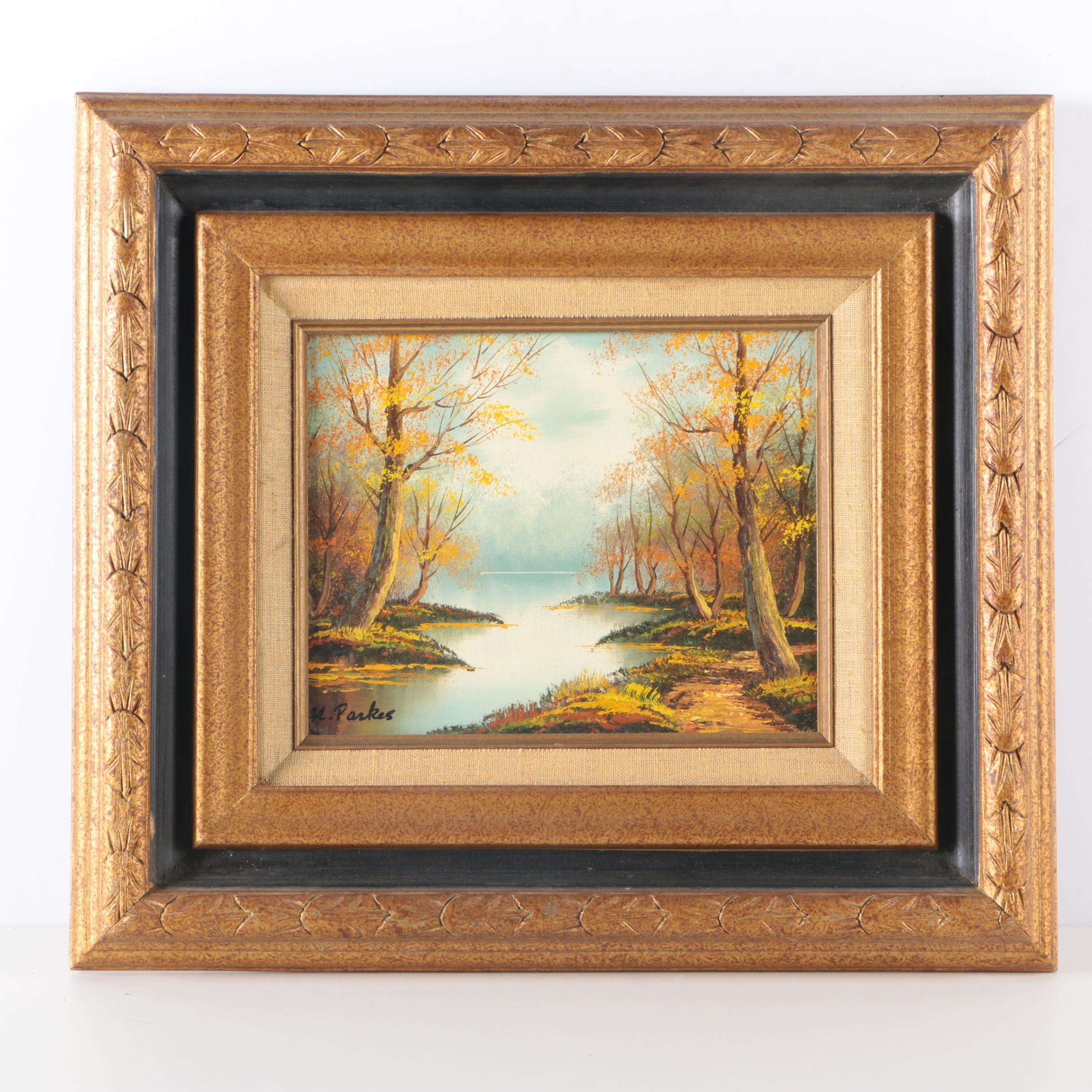M. Parkes Oil Painting of Landscape