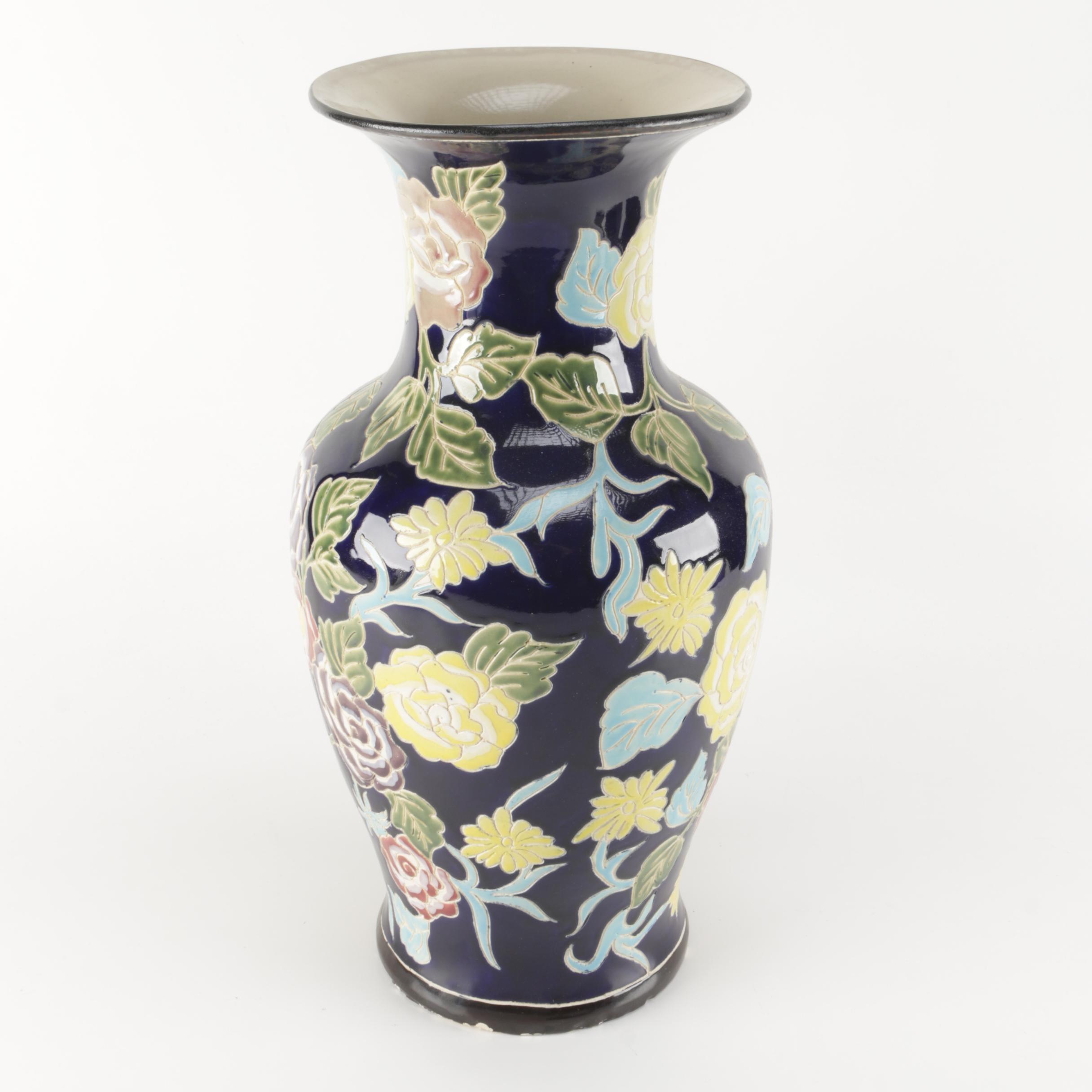 Incised Floral Ceramic Vase