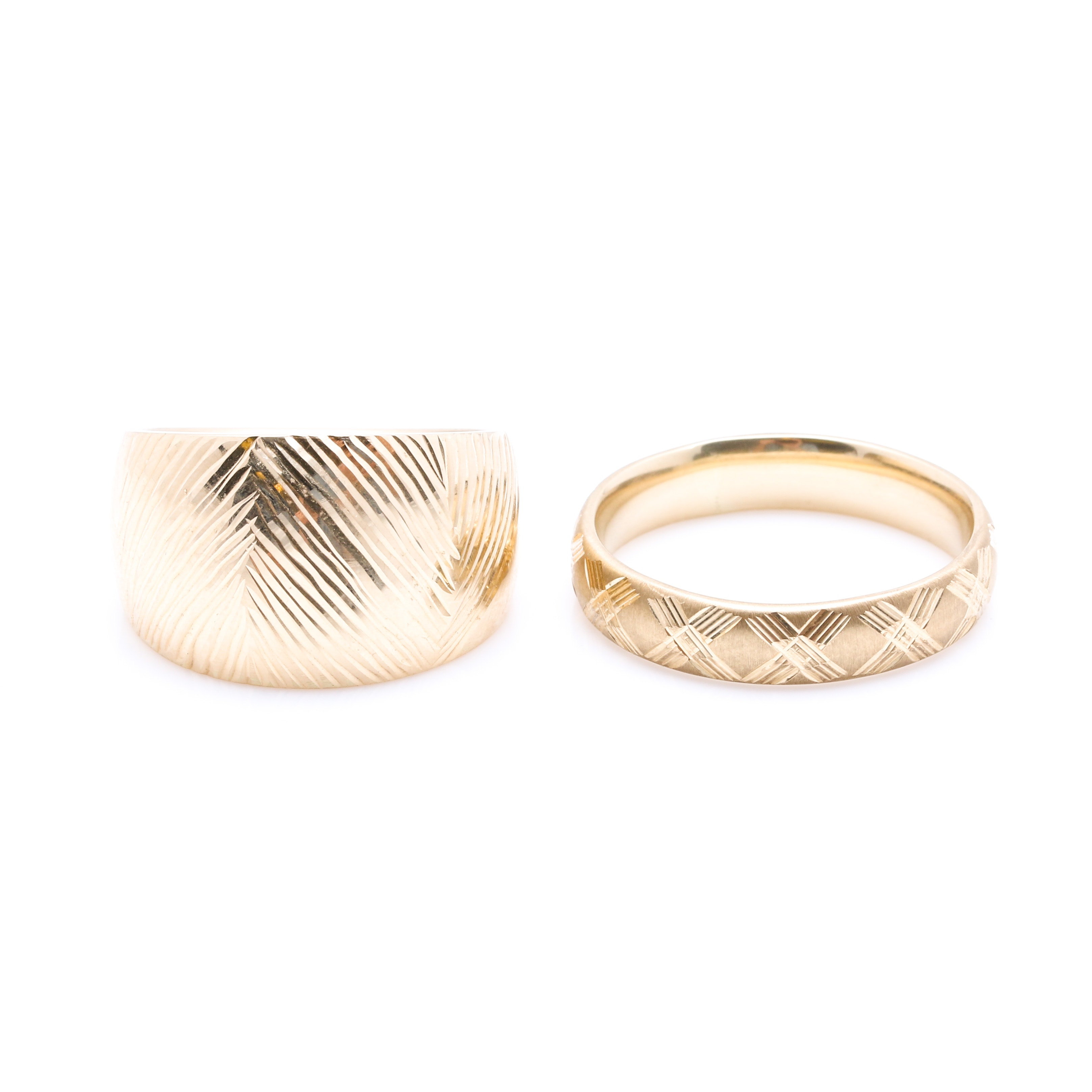 Pair of 14K Yellow Gold Textured Rings including Milor